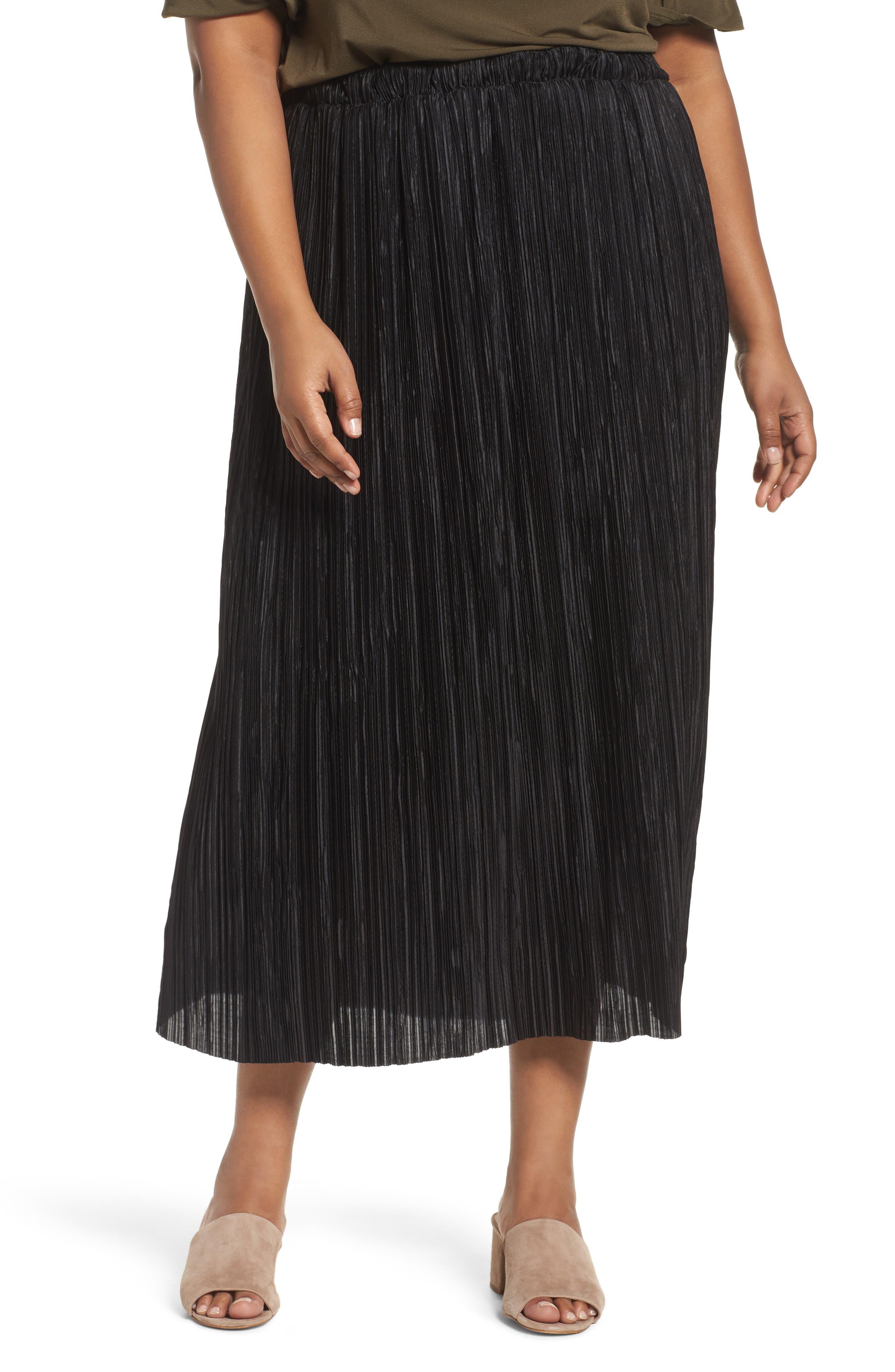 Crinkle Midi Skirt,                             Main thumbnail 1, color,                             001