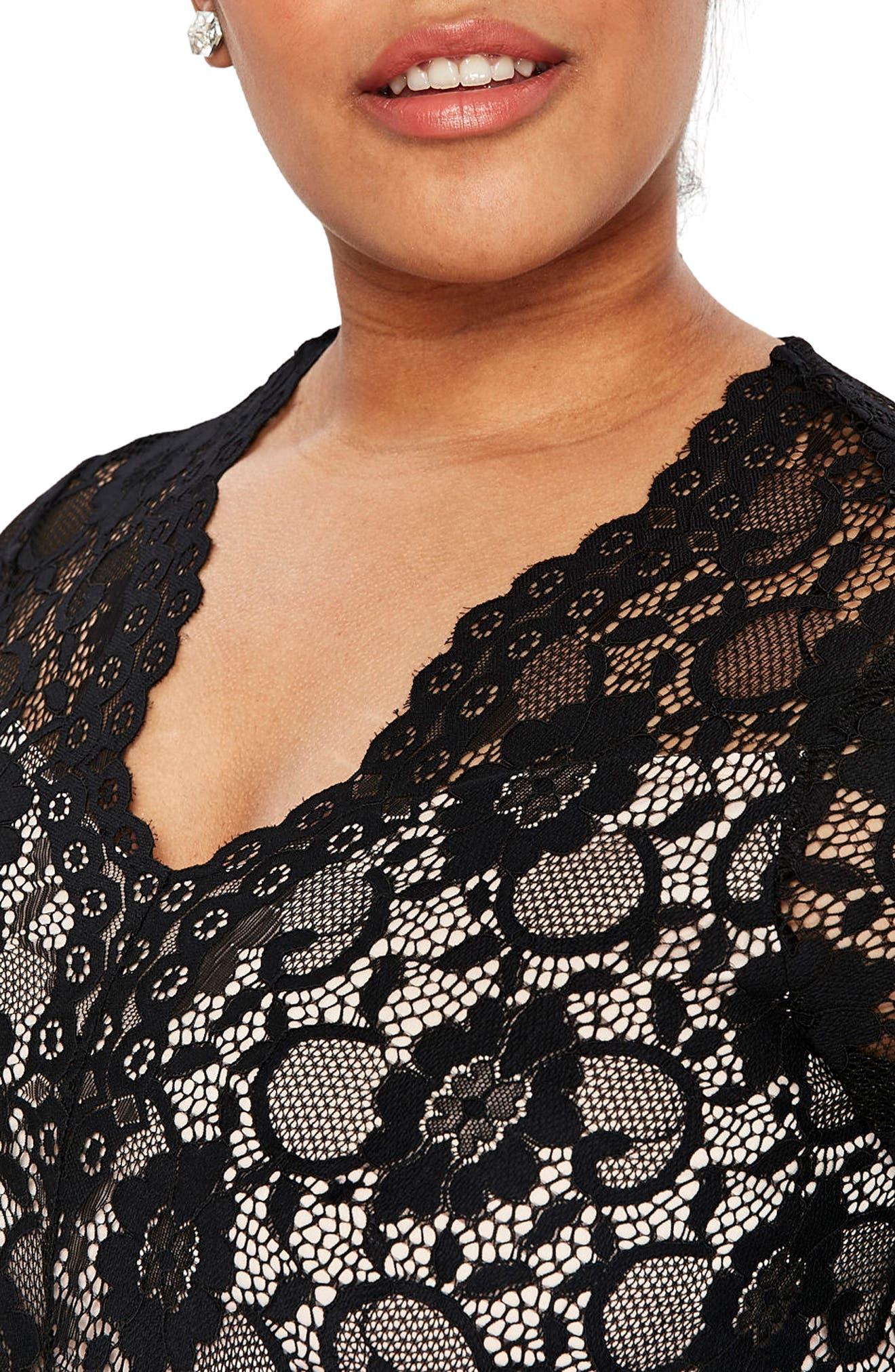 Scallop Lace Fit & Flare Dress,                             Alternate thumbnail 3, color,                             001