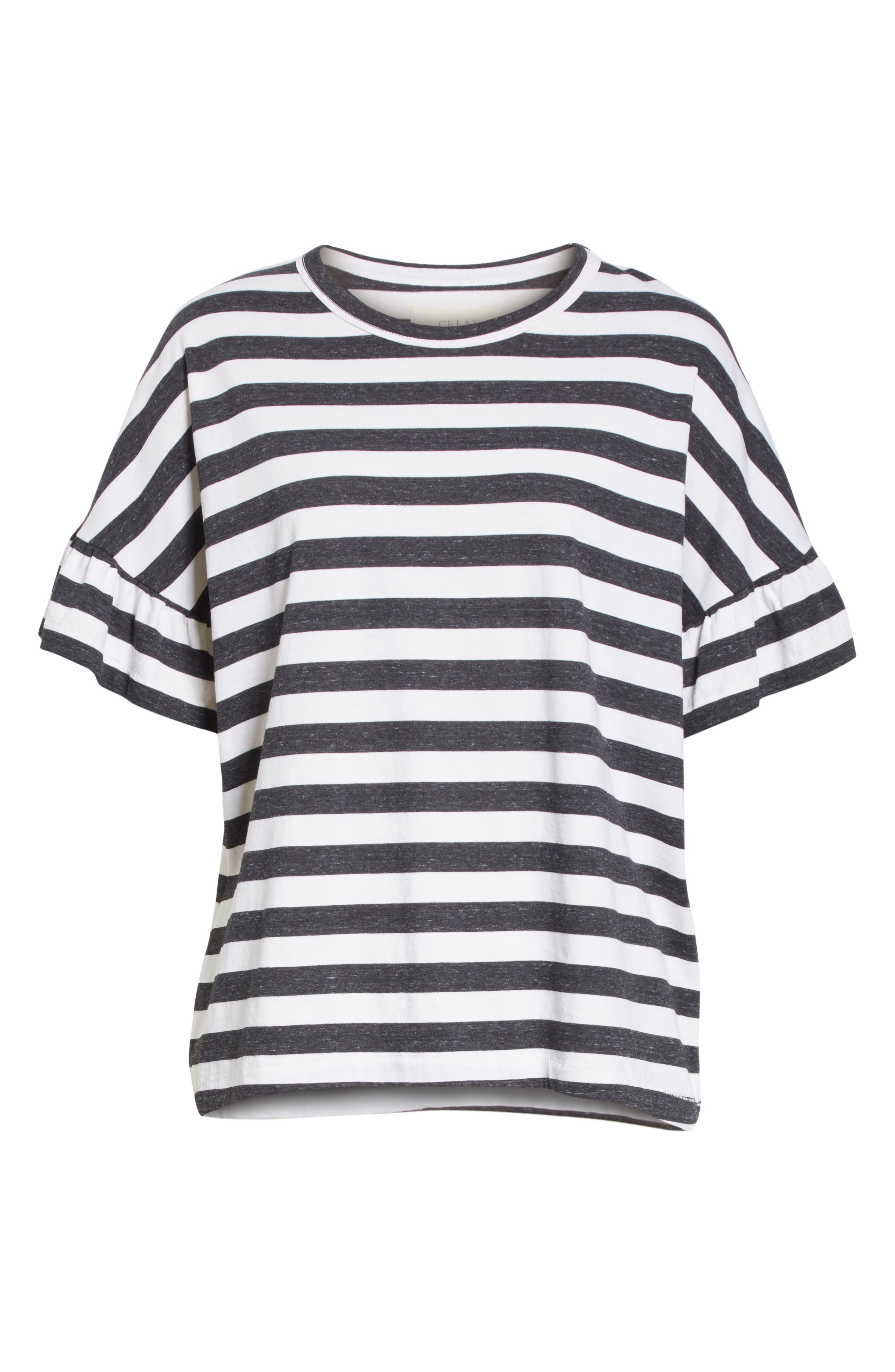 The Ruffle Stripe Tee,                             Alternate thumbnail 6, color,                             020