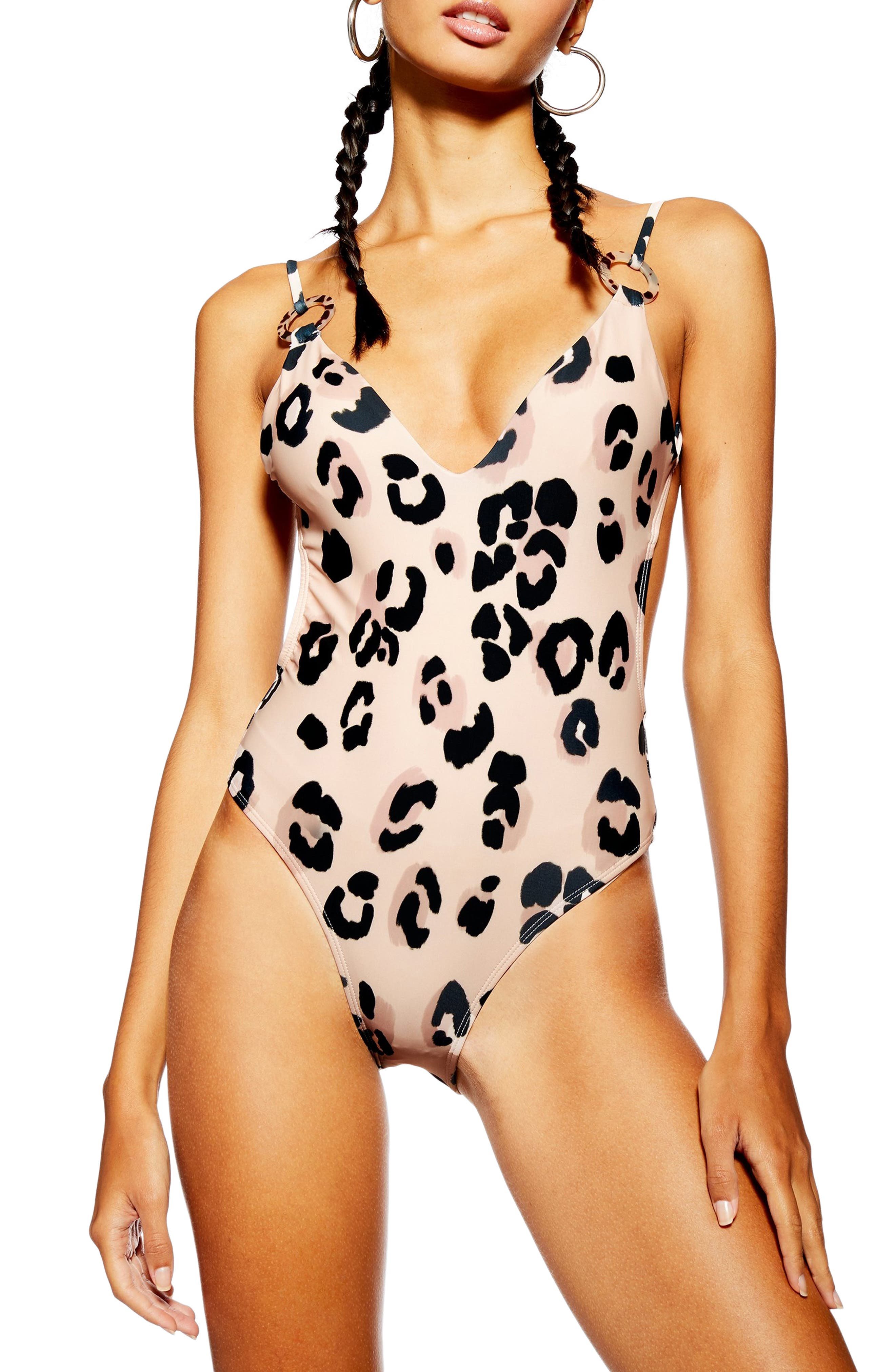 Topshop Animal Print One-Piece Swimsuit, US (fits like 2-4) - Pink