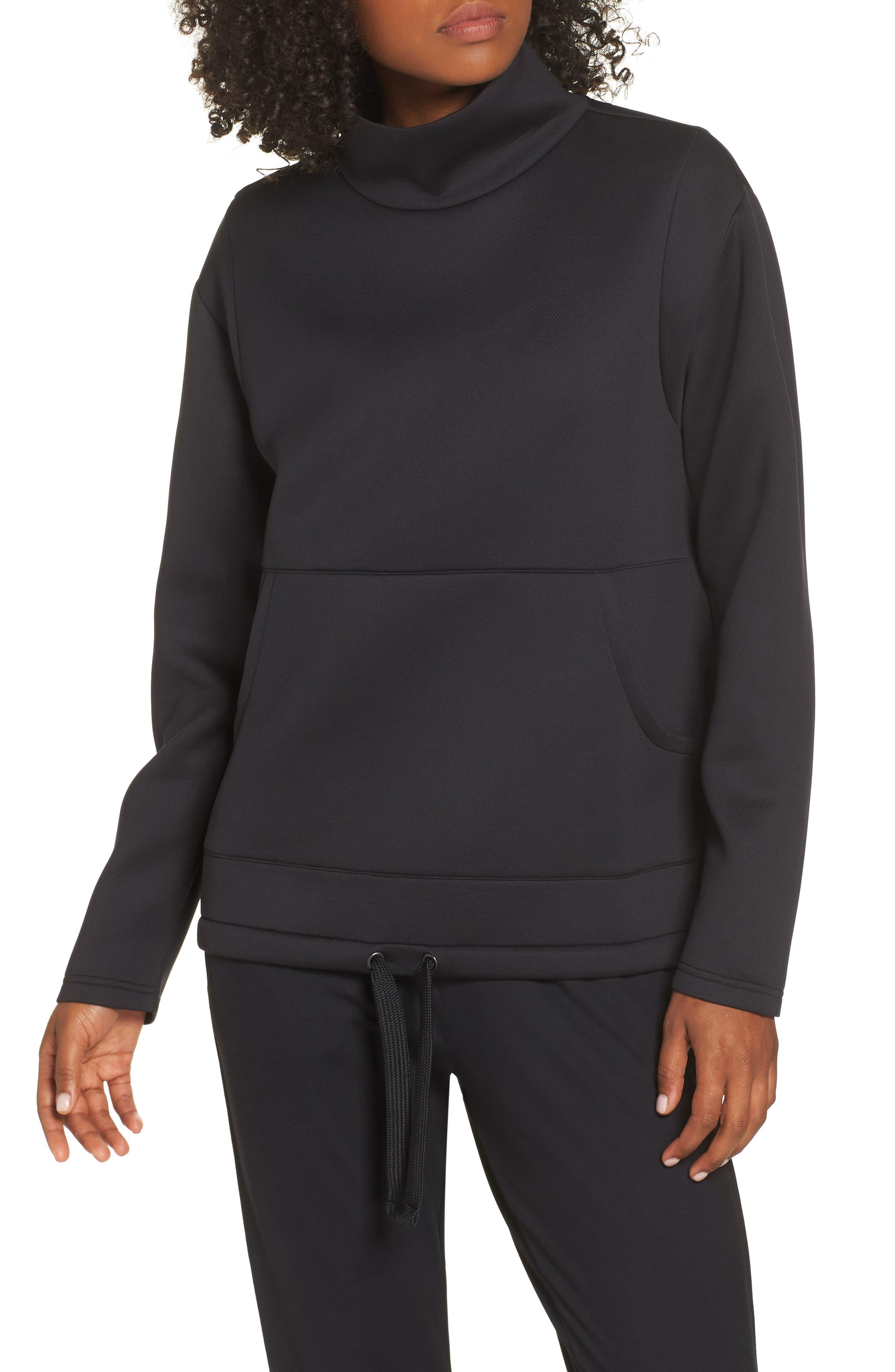 All About It Funnel Neck Sweatshirt,                             Main thumbnail 1, color,                             BLACK