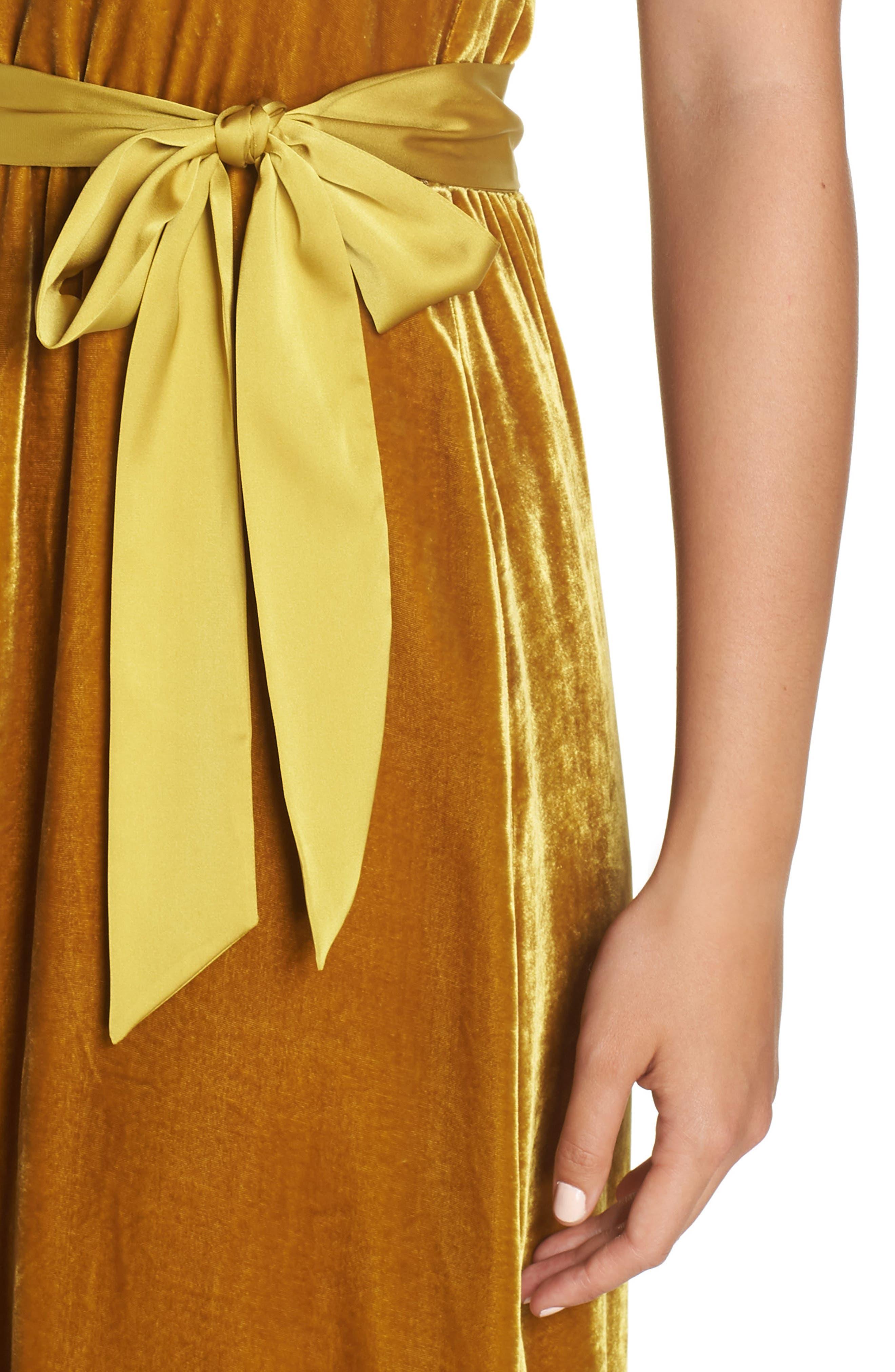 Velvet Halter Maxi Dress,                             Alternate thumbnail 4, color,                             720
