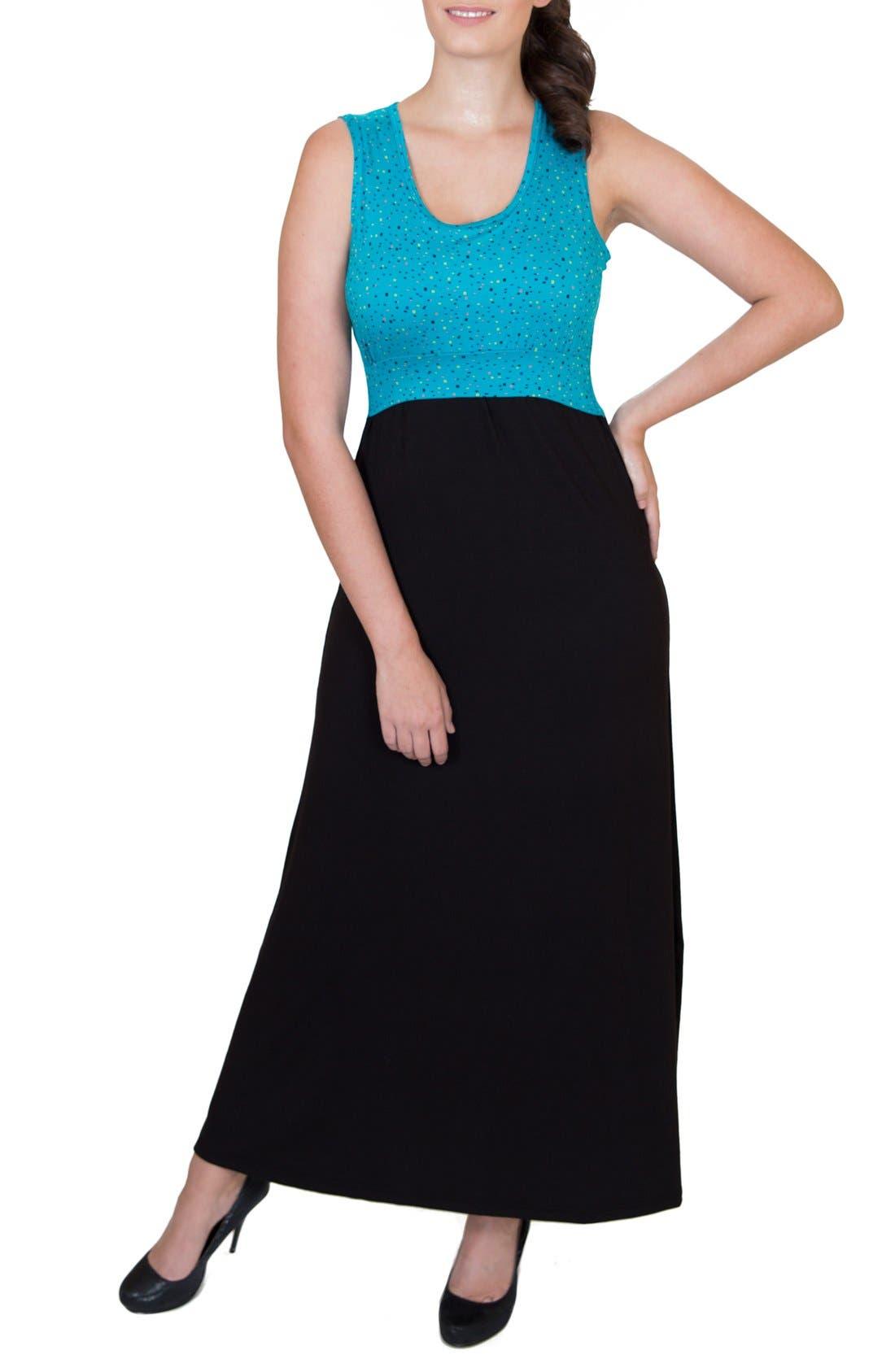 'Mariana' Maternity/Nursing Maxi Dress,                         Main,                         color, DOTS TOP W/ BLACK SKIRT