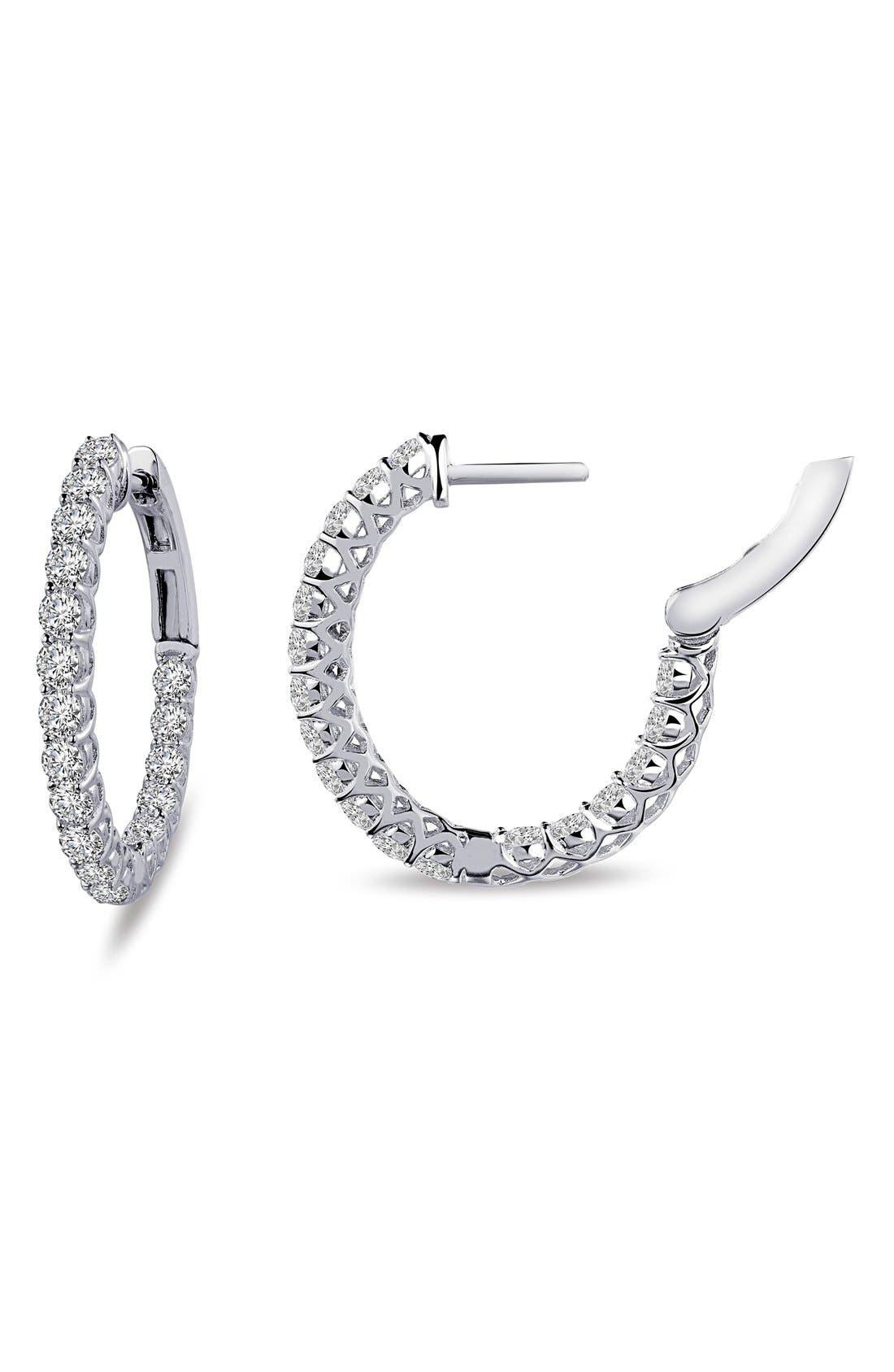 'Lassaire' Oval Hoop Earrings,                             Main thumbnail 1, color,                             SILVER