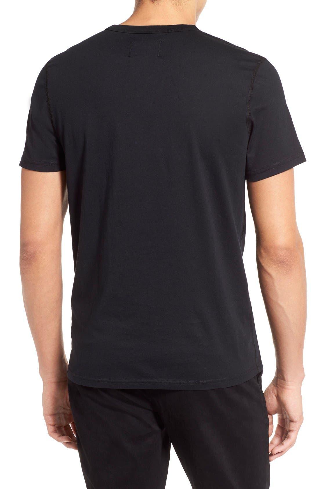 Short Sleeve Crewneck T-Shirt,                             Alternate thumbnail 3, color,                             BLACK