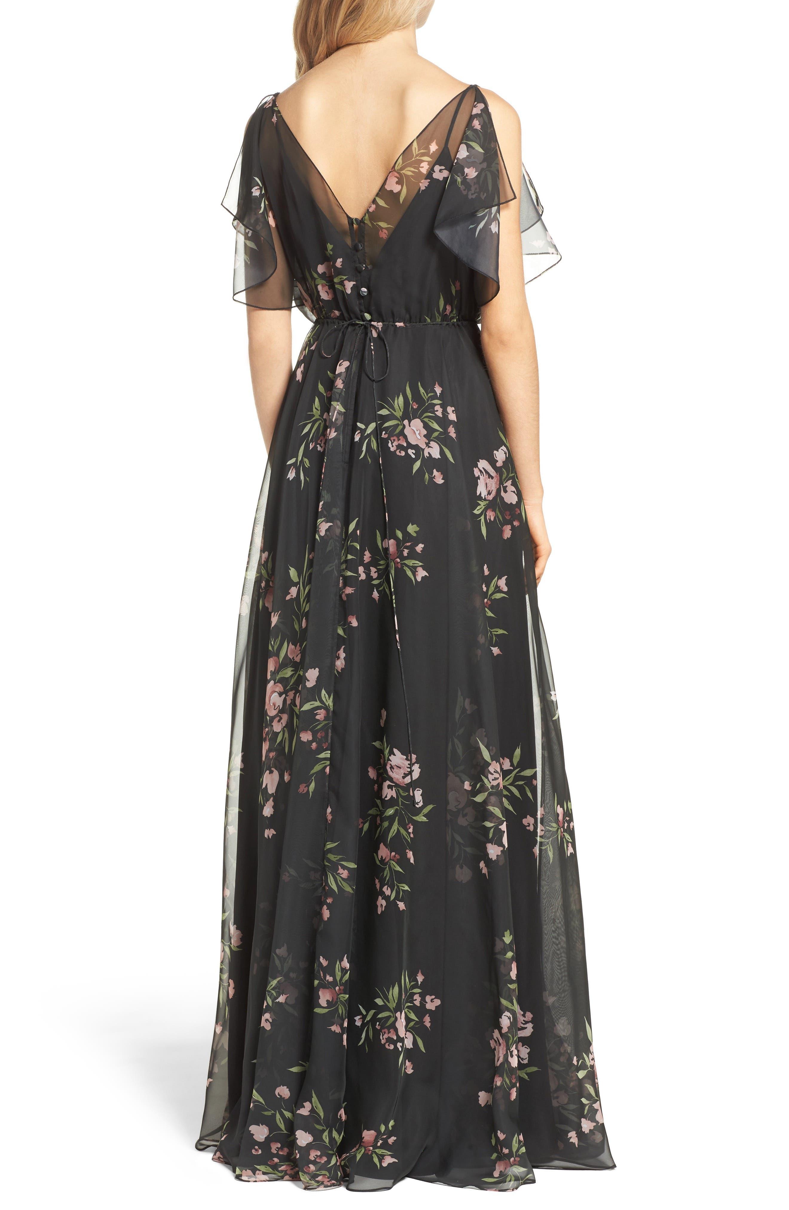 Cassie Flutter Sleeve Surplice Gown,                             Alternate thumbnail 2, color,                             001