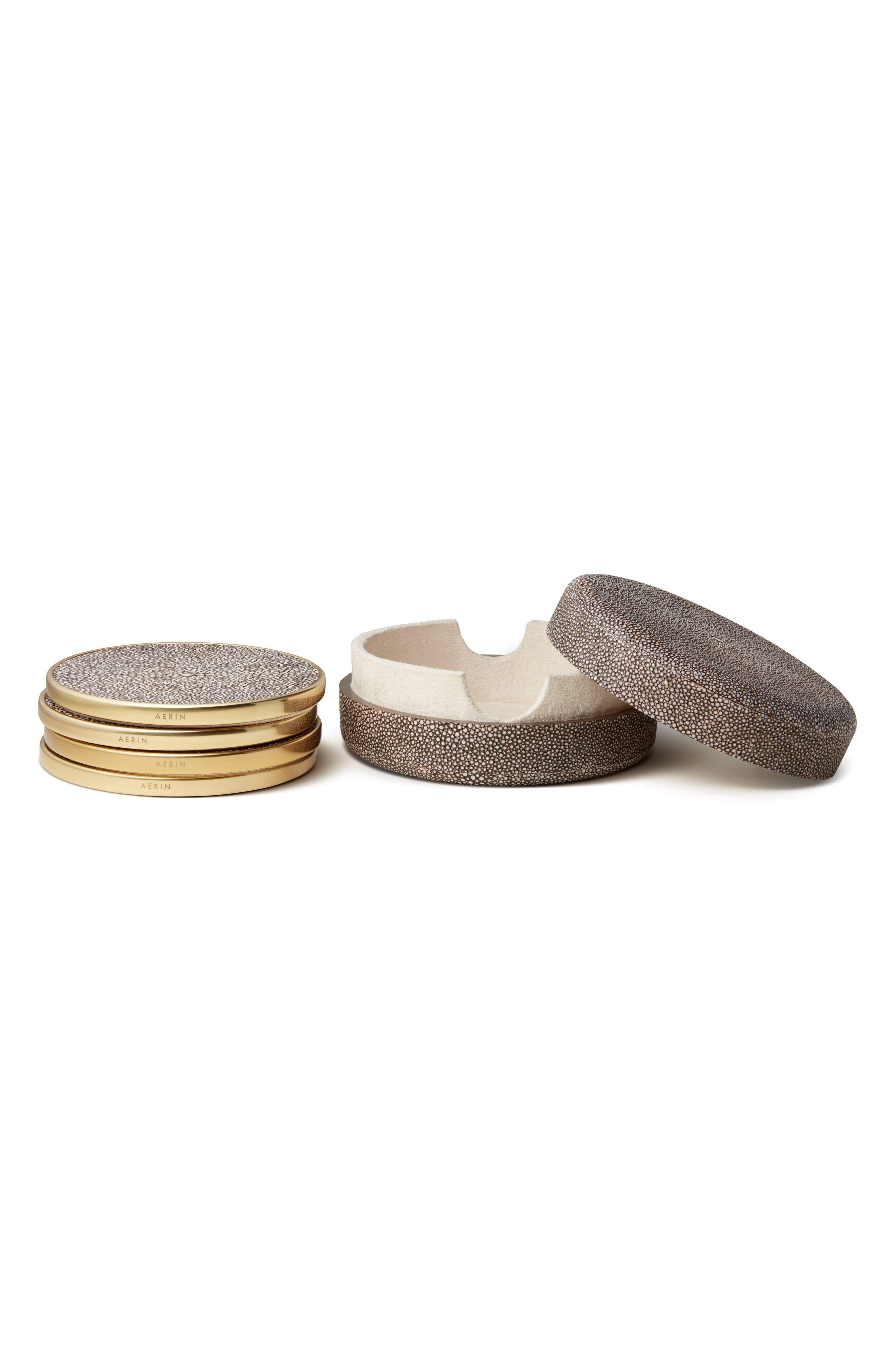 Chocolate Shagreen Set of 4 Coasters,                         Main,                         color, METALLIC GOLD