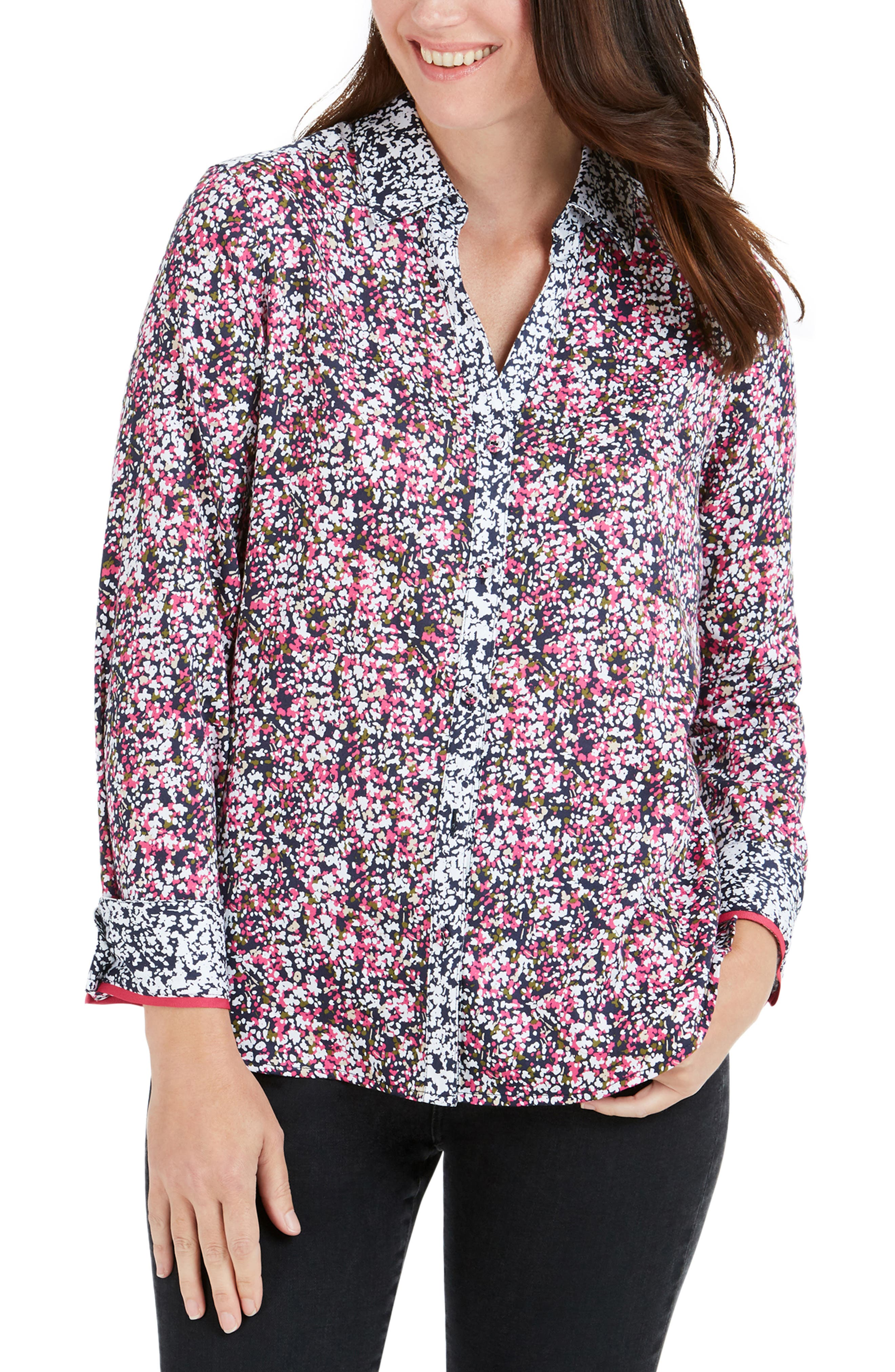 FOXCROFT Mary Garden Party Wrinkle Free Shirt, Main, color, MULTI
