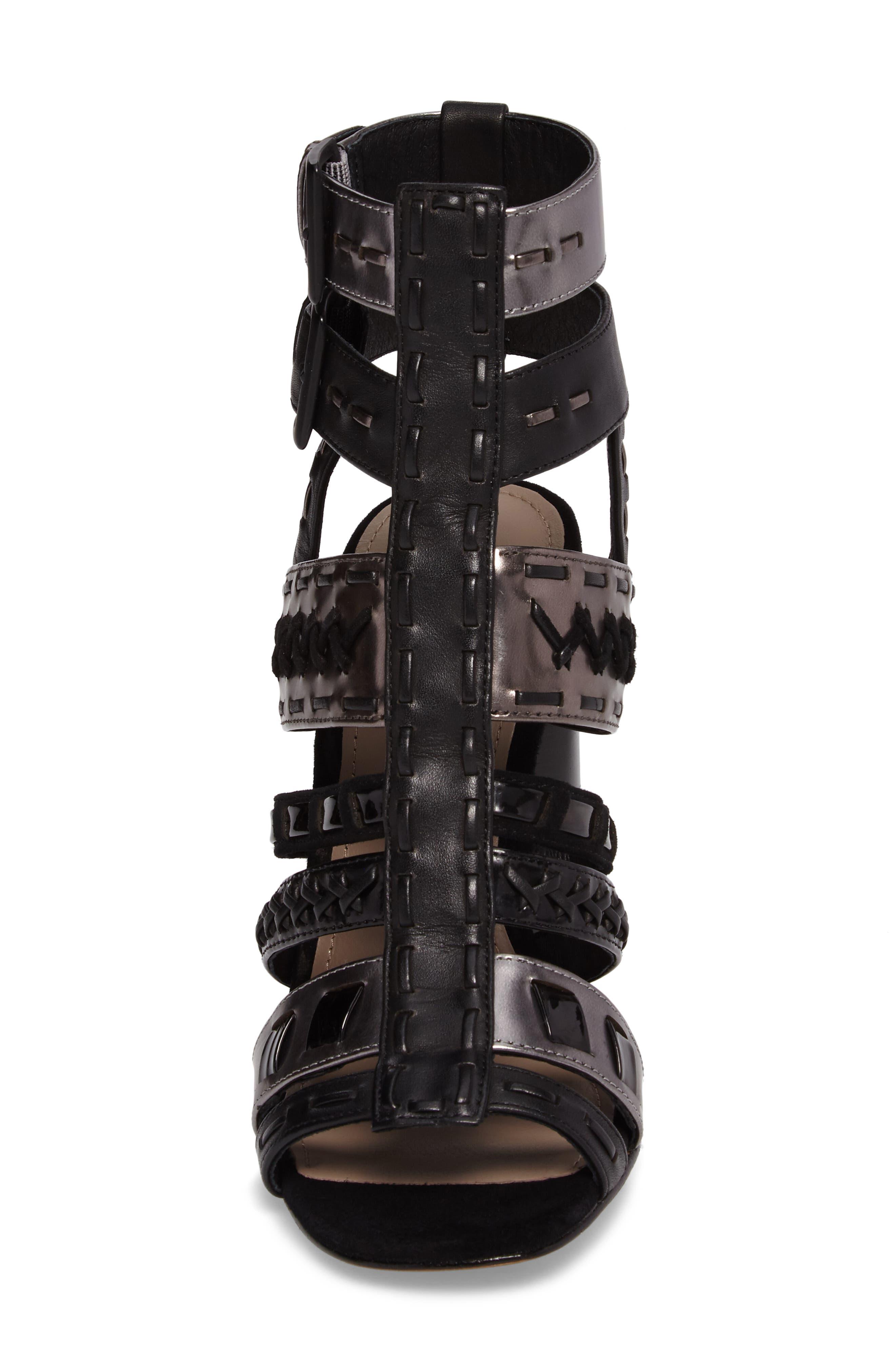Donald J Pliner Bindy Column Heel Cage Sandal,                             Alternate thumbnail 4, color,                             001
