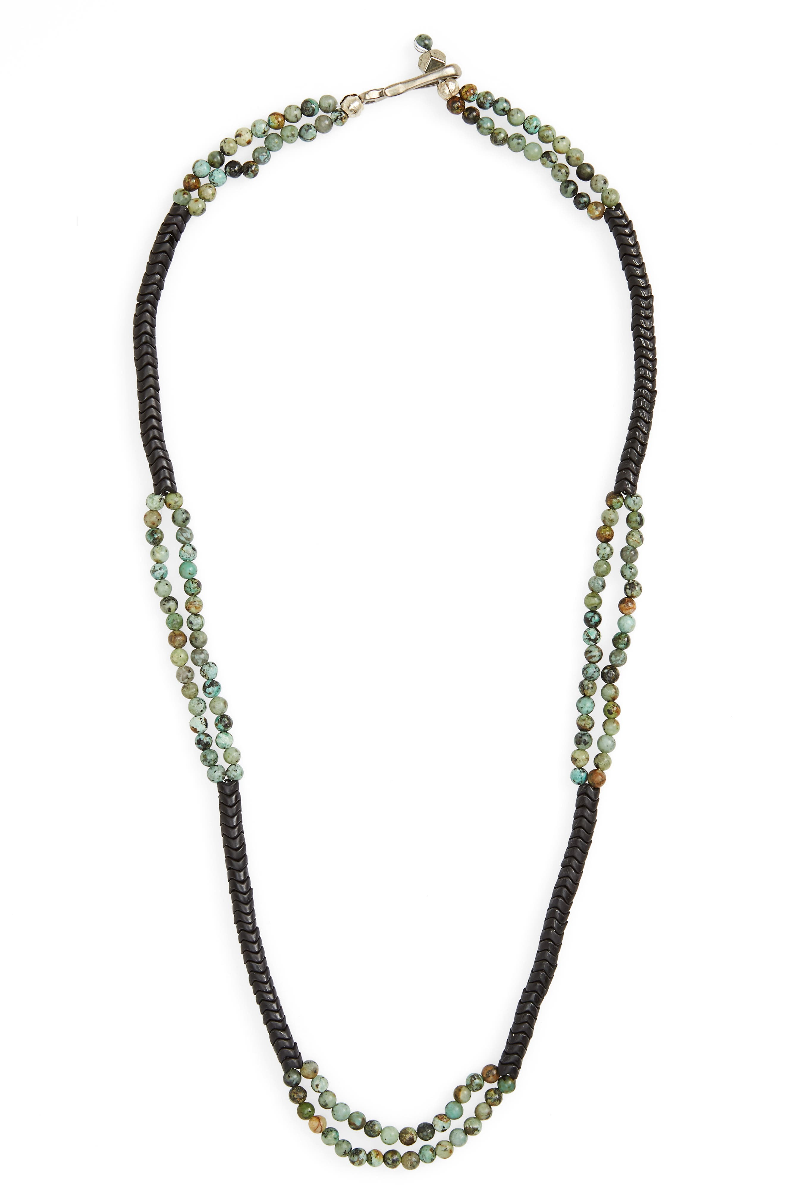 Turquoise Bead Necklace,                             Main thumbnail 1, color,                             GREEN