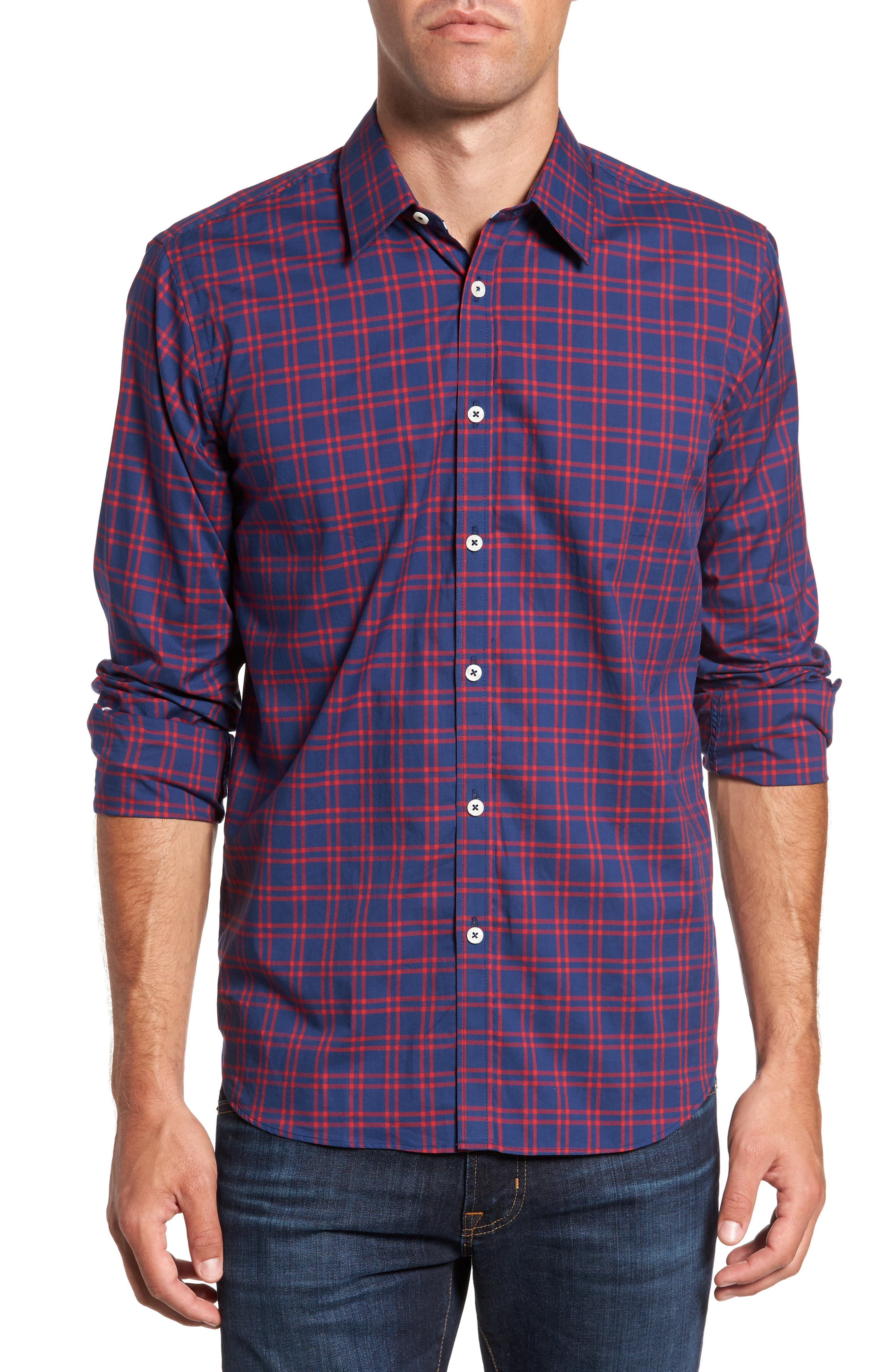Slim Fit Check Sport Shirt,                         Main,                         color, 624