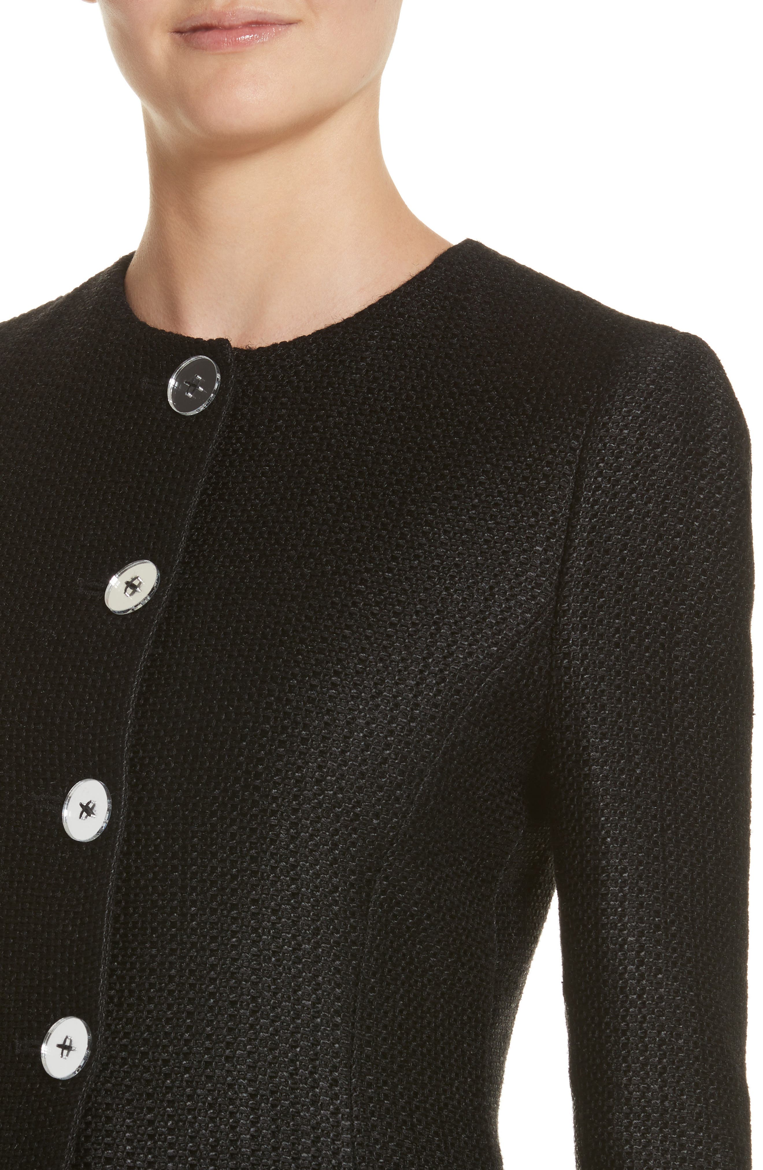 Linen & Silk Blend Tweed Jacket,                             Alternate thumbnail 4, color,                             001