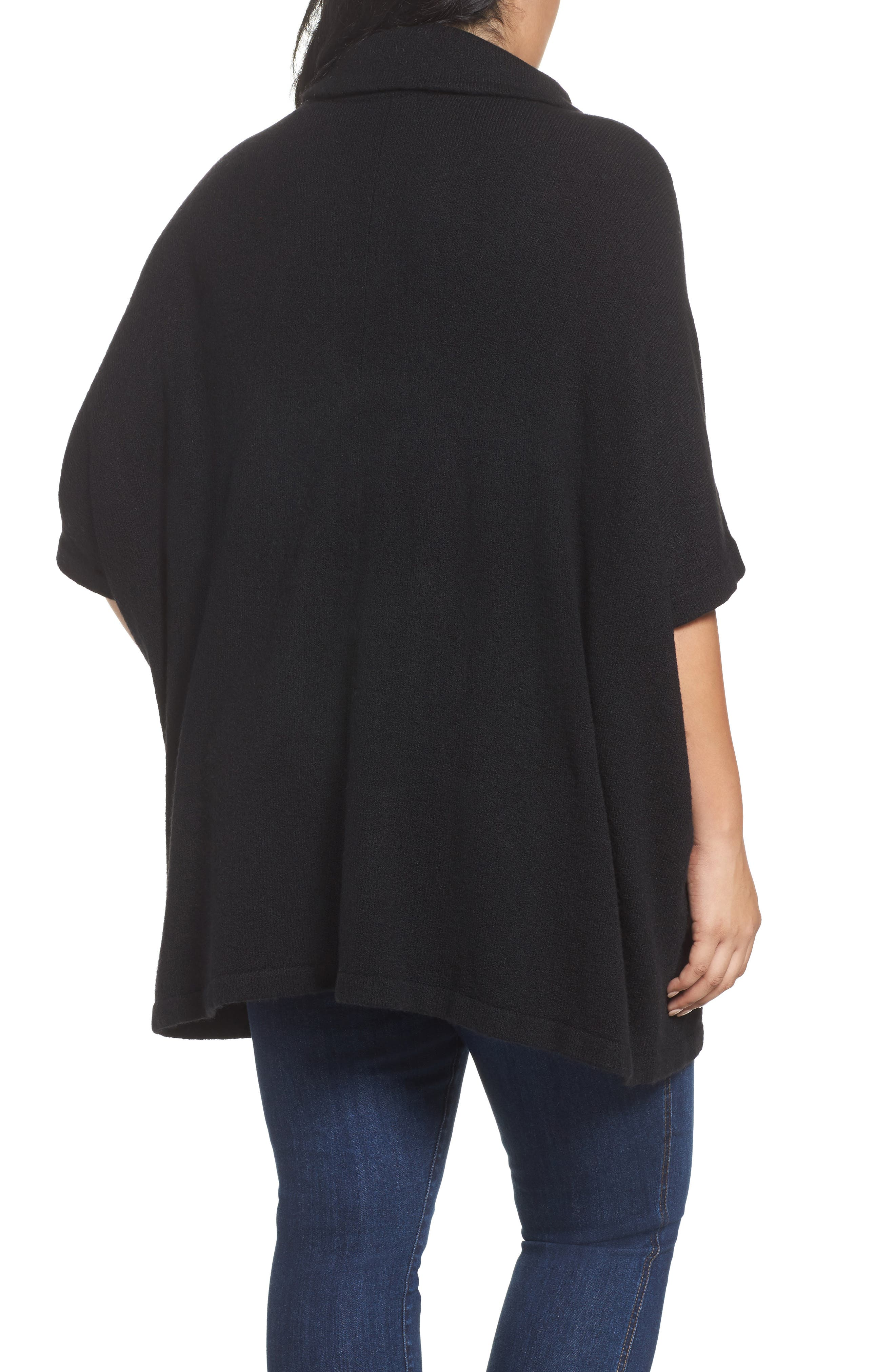 Turtleneck Poncho Sweater,                             Alternate thumbnail 2, color,                             001