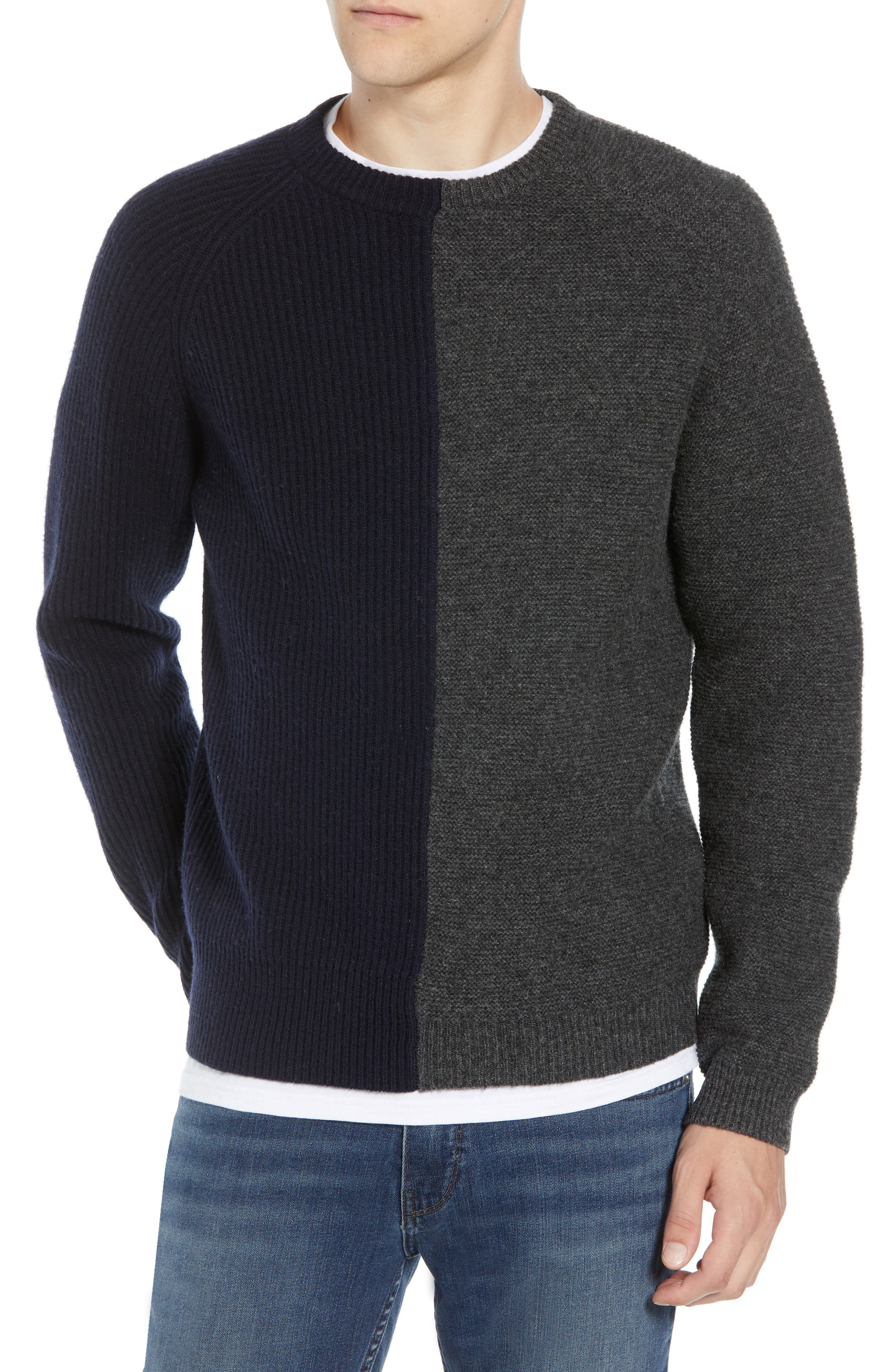 Mixed Texture Wool Blend Sweater,                             Main thumbnail 1, color,                             UTILITY BLUE CHARCOAL MELANGE