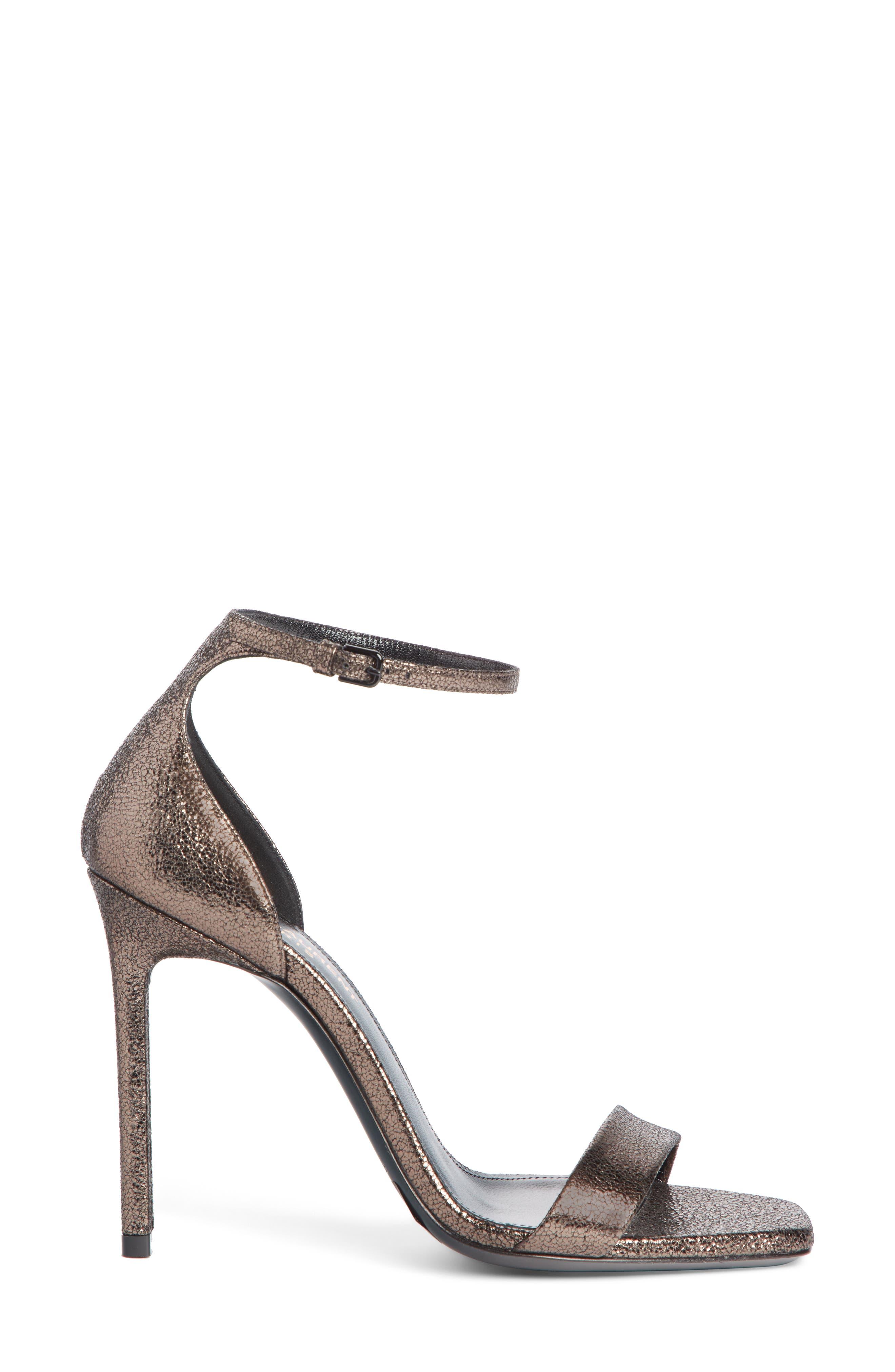 Amber Ankle Strap Sandal,                             Alternate thumbnail 3, color,                             BLACK/ METALLIC