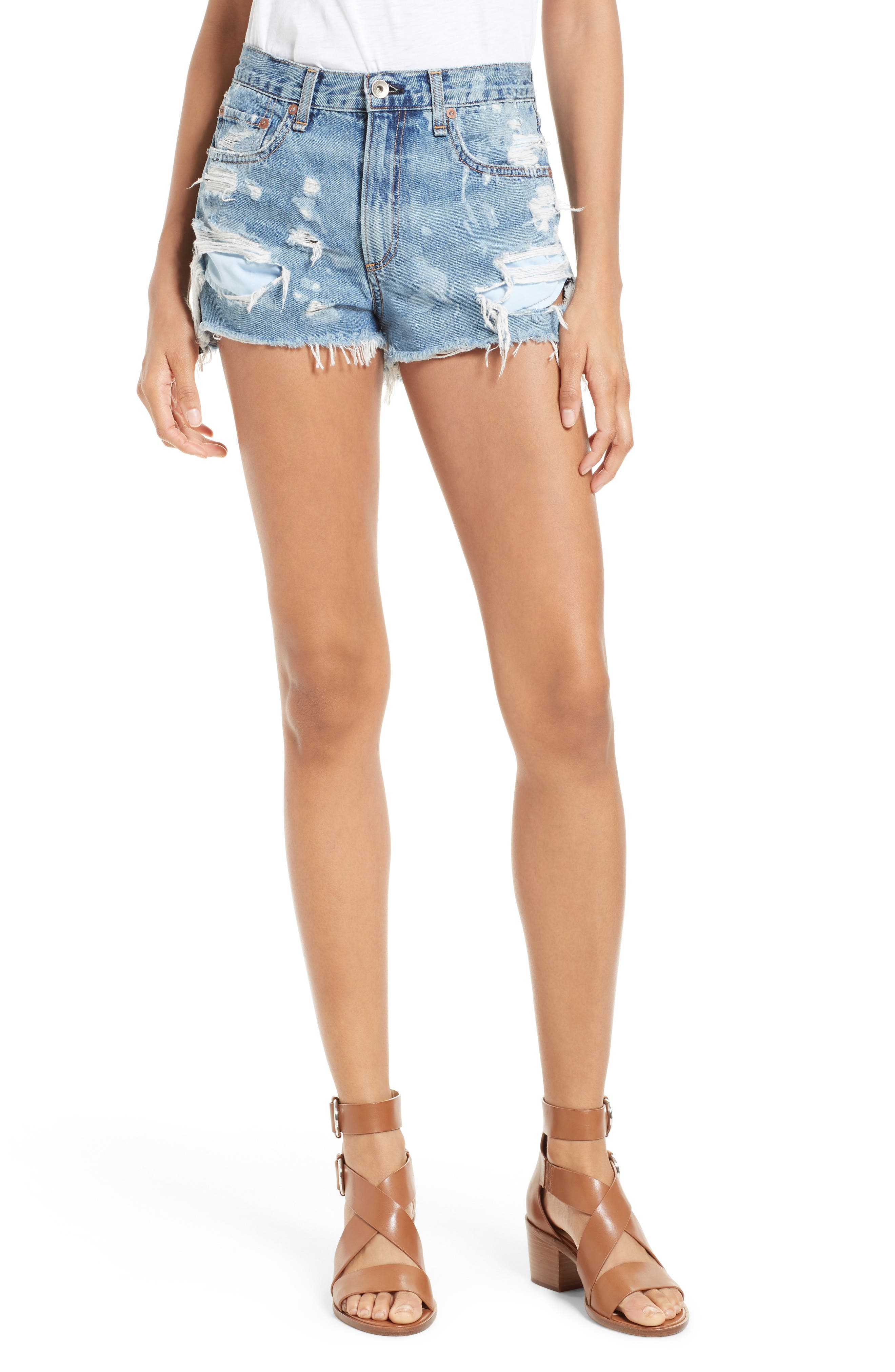 Justine High Waist Cutoff Denim Shorts,                         Main,                         color, 422