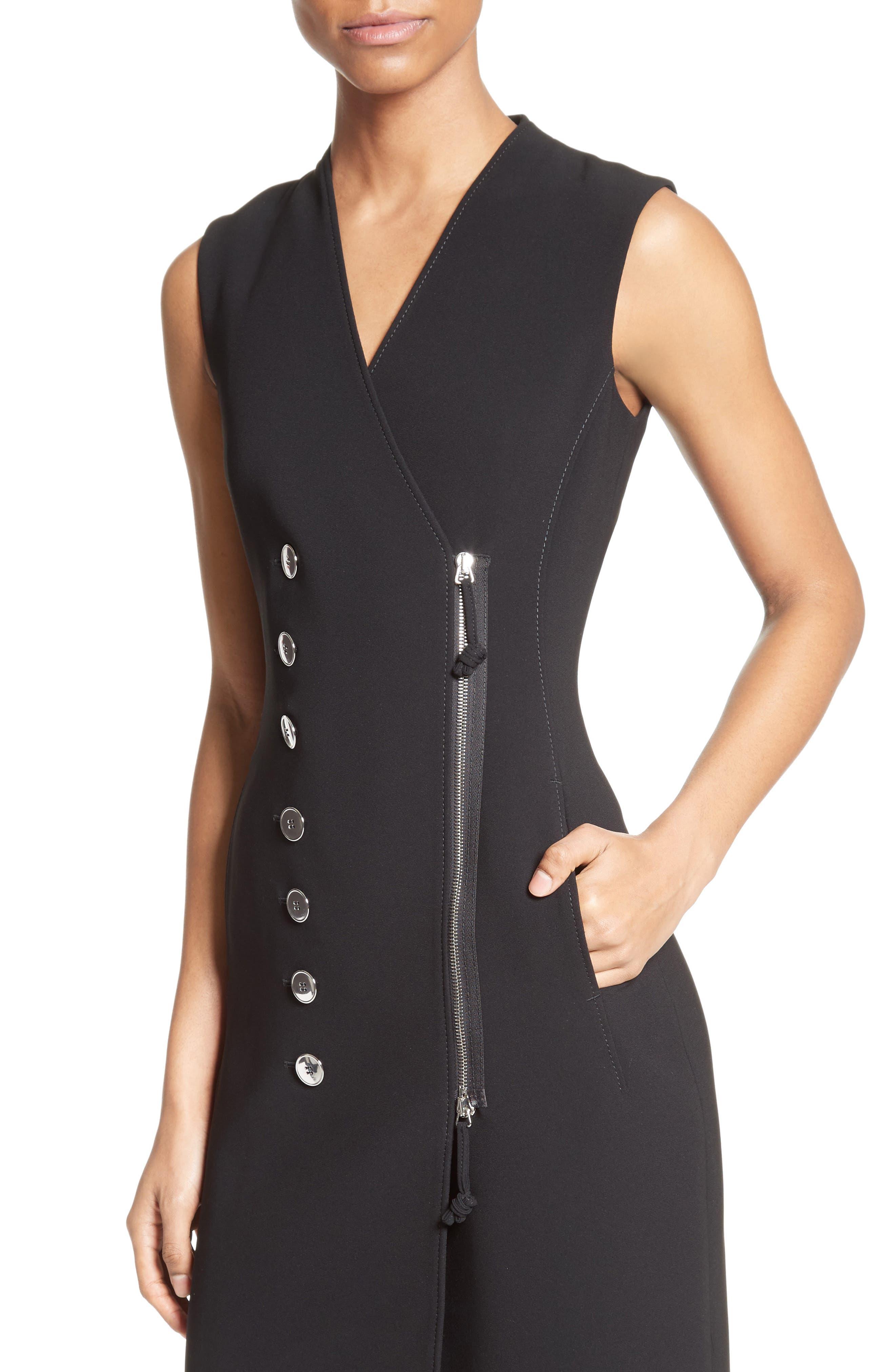 Lucretia Button & Zip Detail Dress,                             Alternate thumbnail 4, color,                             001