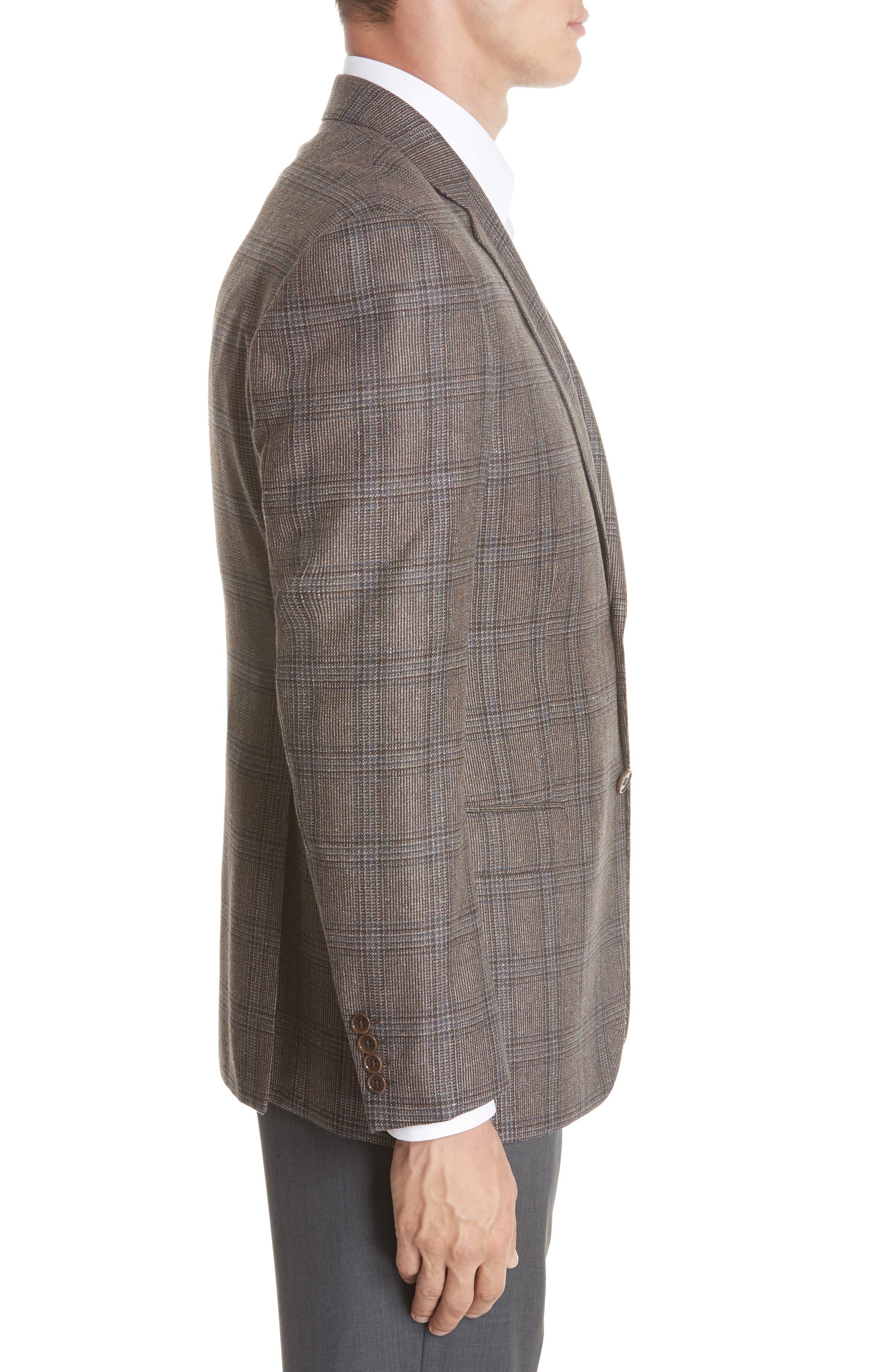 G Line Trim Fit Plaid Silk & Wool Sport Coat,                             Alternate thumbnail 3, color,                             BROWN