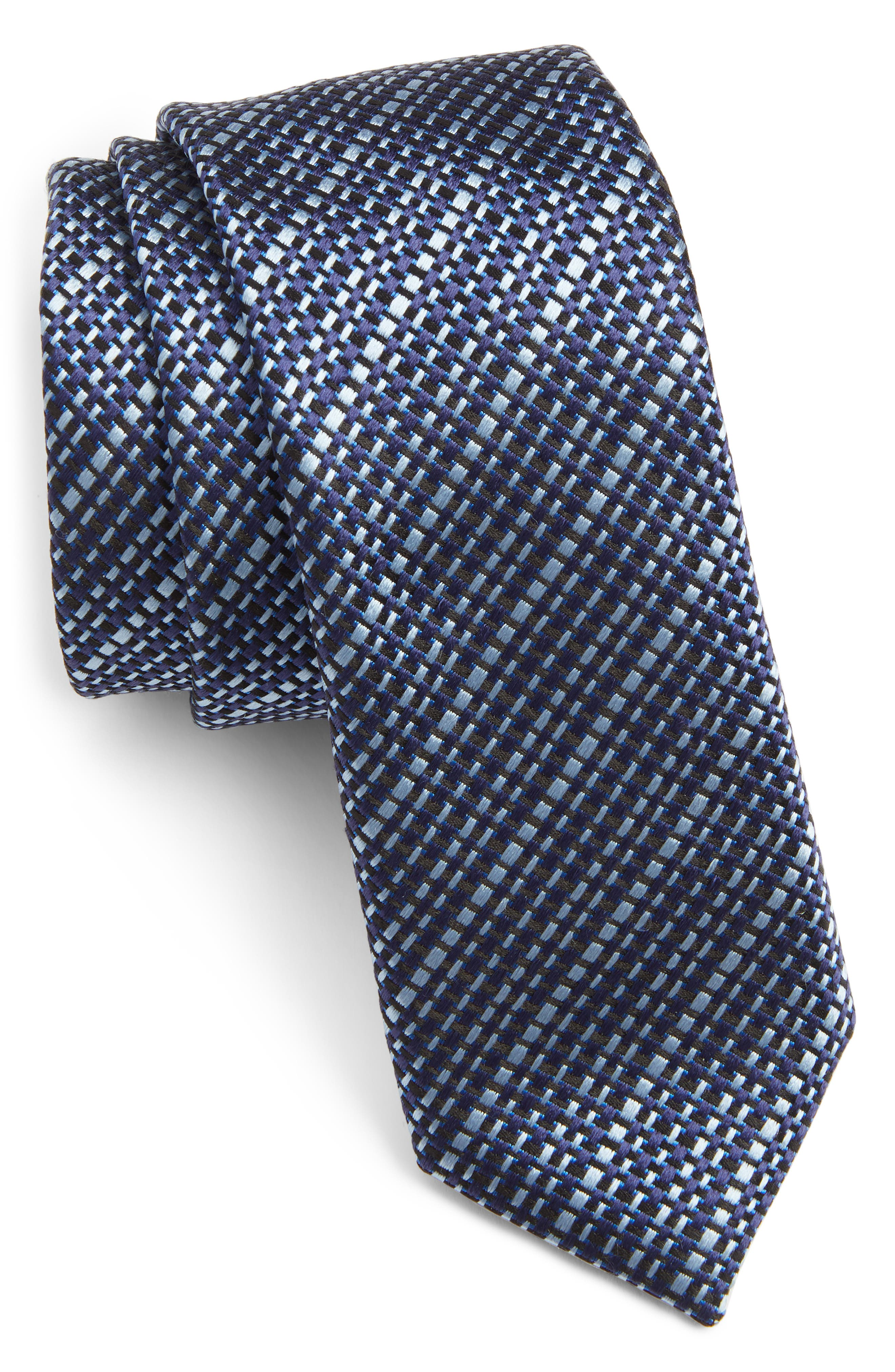 Grid Silk Tie,                         Main,                         color, OPEN BLUE