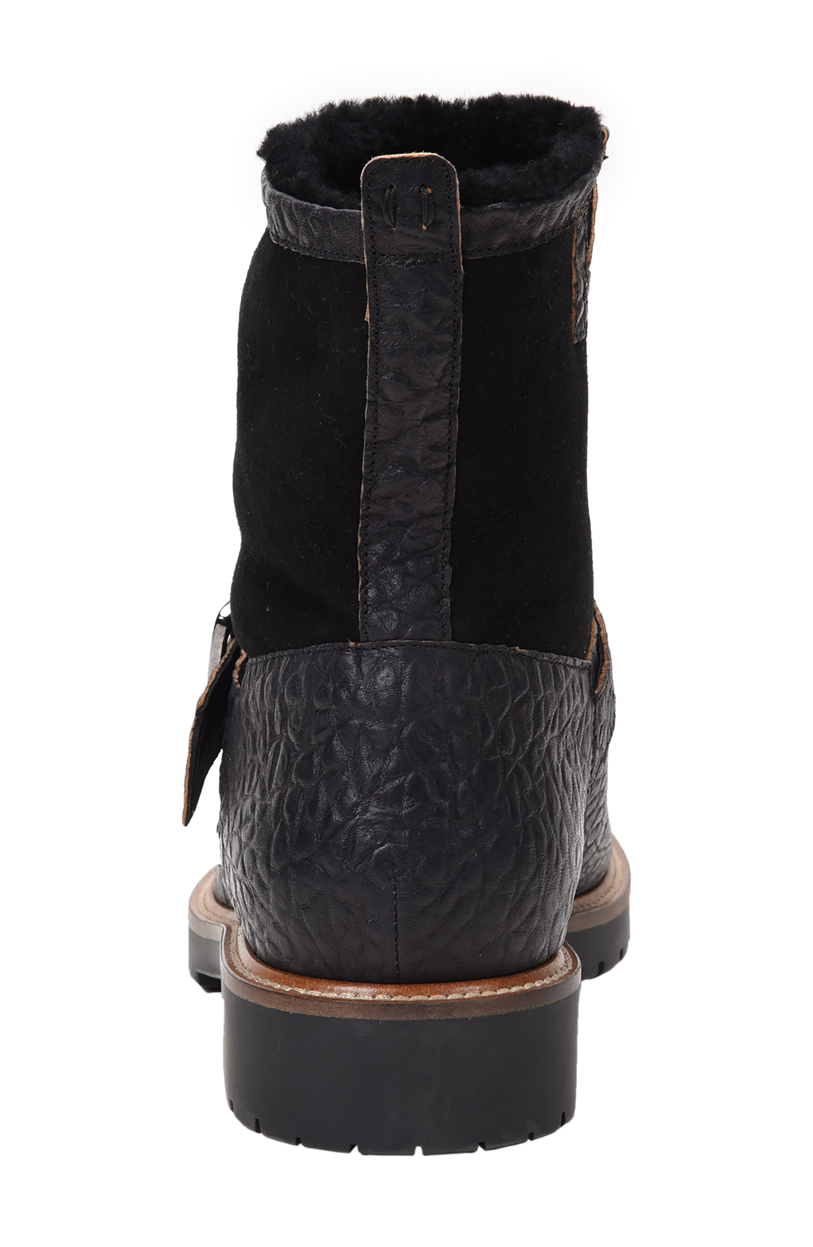 Federico Waterproof Genuine Shearling Lined Moto Boot,                             Alternate thumbnail 6, color,                             RUGGED BLACK