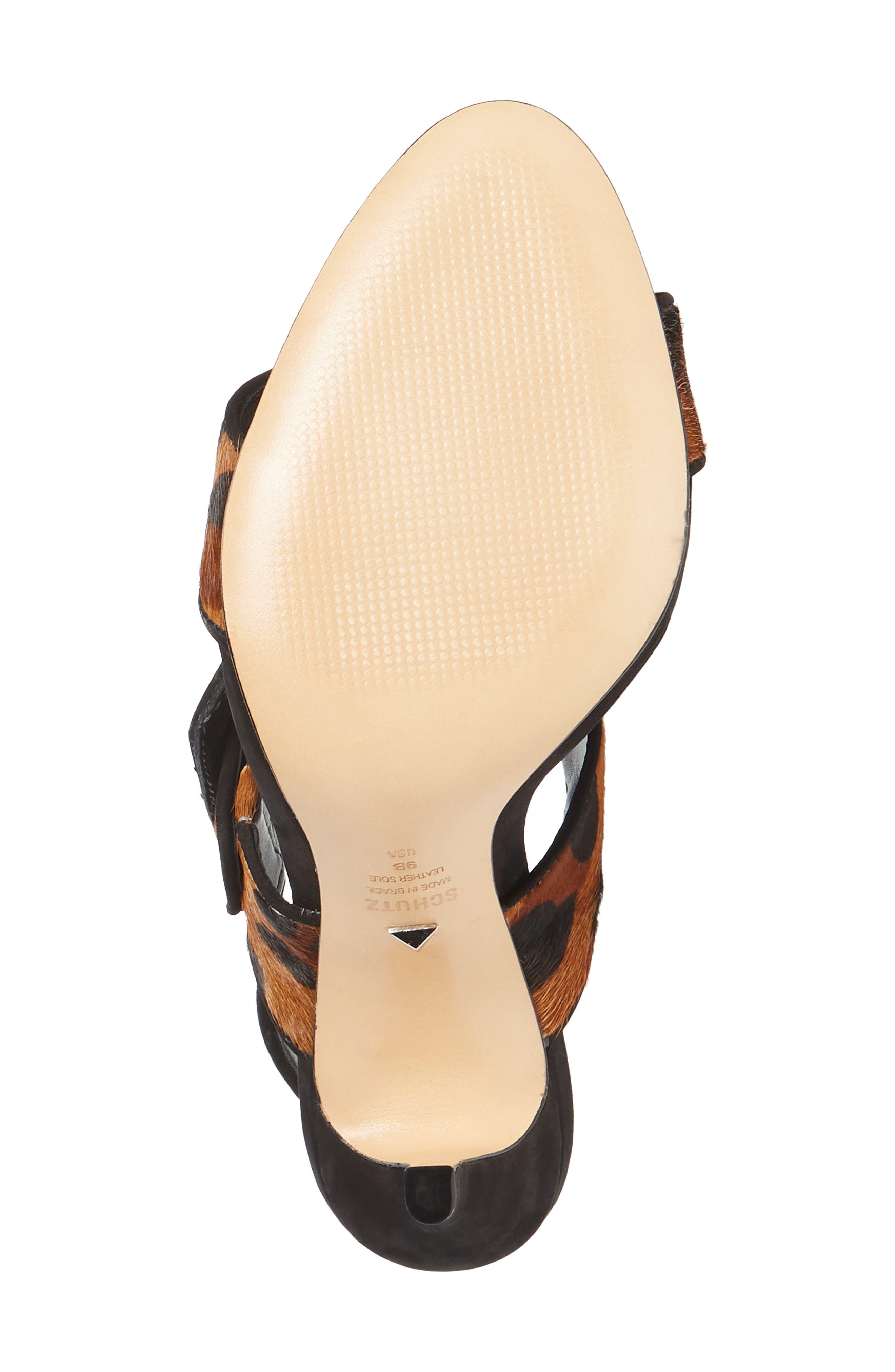 Lucci Genuine Calf Hair Sandal,                             Alternate thumbnail 6, color,                             NATURAL/ BLACK