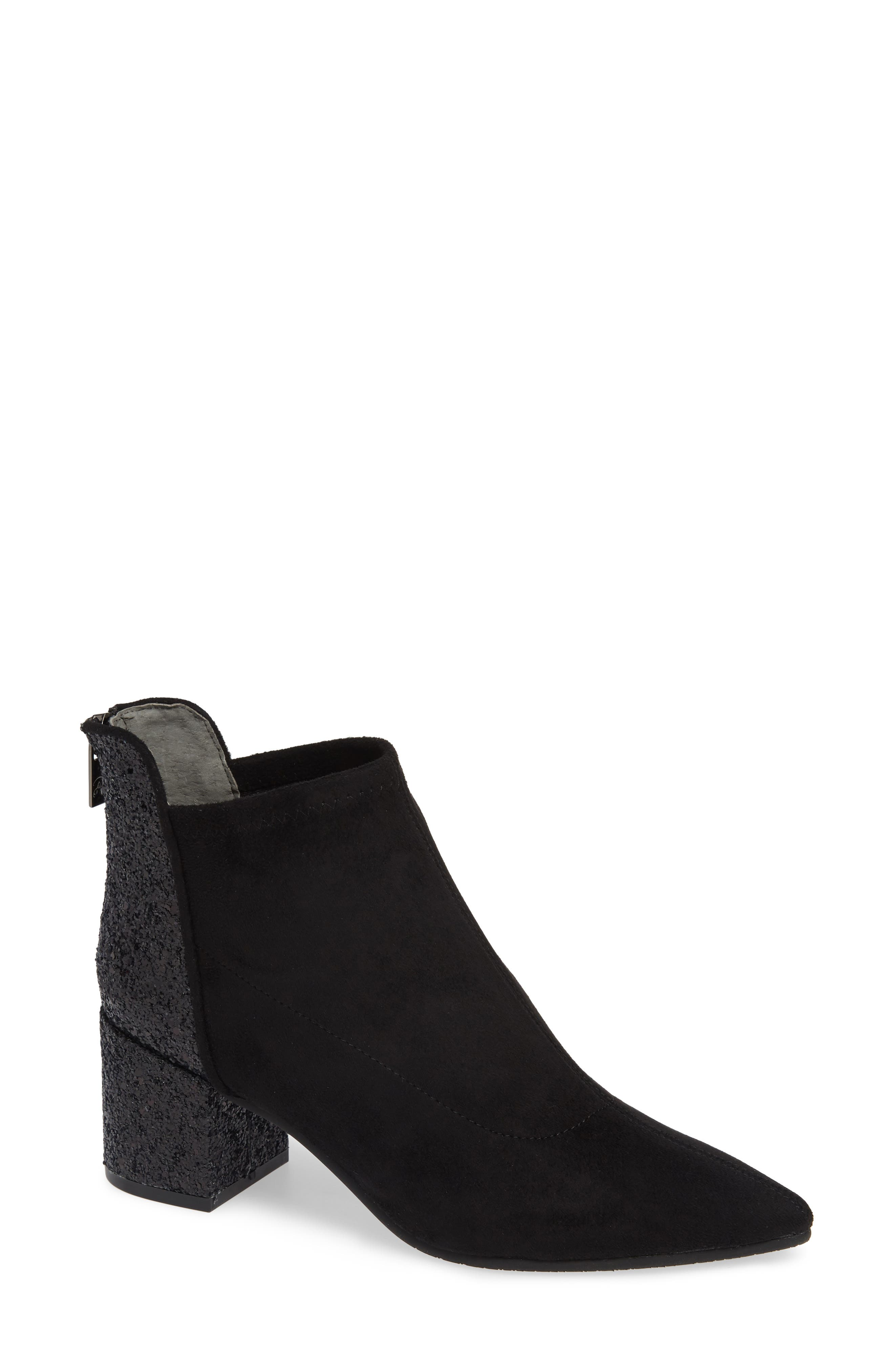 ADRIANNA PAPELL Honey Pointy Toe Stretch Bootie in Black Microsuede