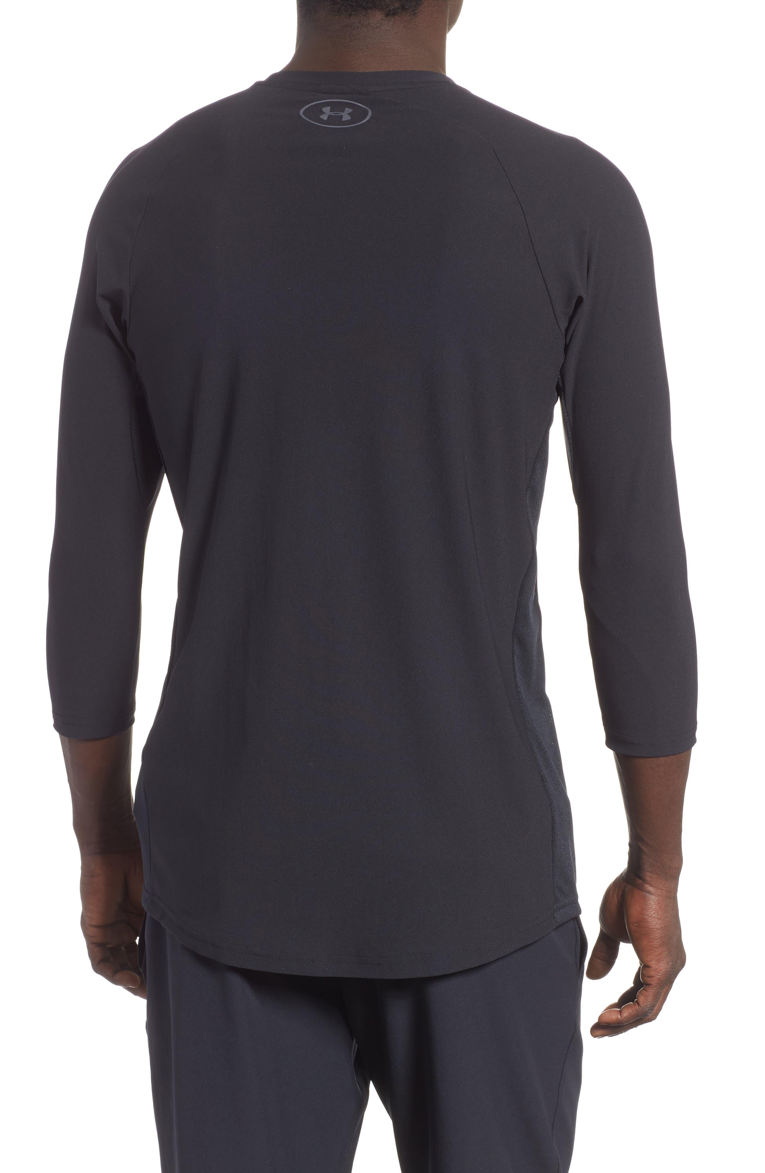 Three Quarter Sleeve Print Performance T-Shirt,                             Alternate thumbnail 2, color,                             BLACK