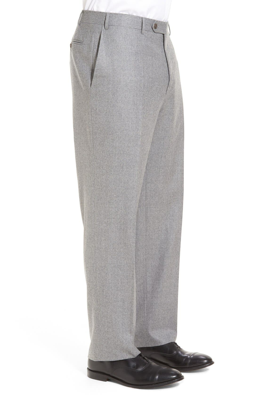 Flat Front Solid Wool Trousers,                             Alternate thumbnail 4, color,                             LIGHT GREY