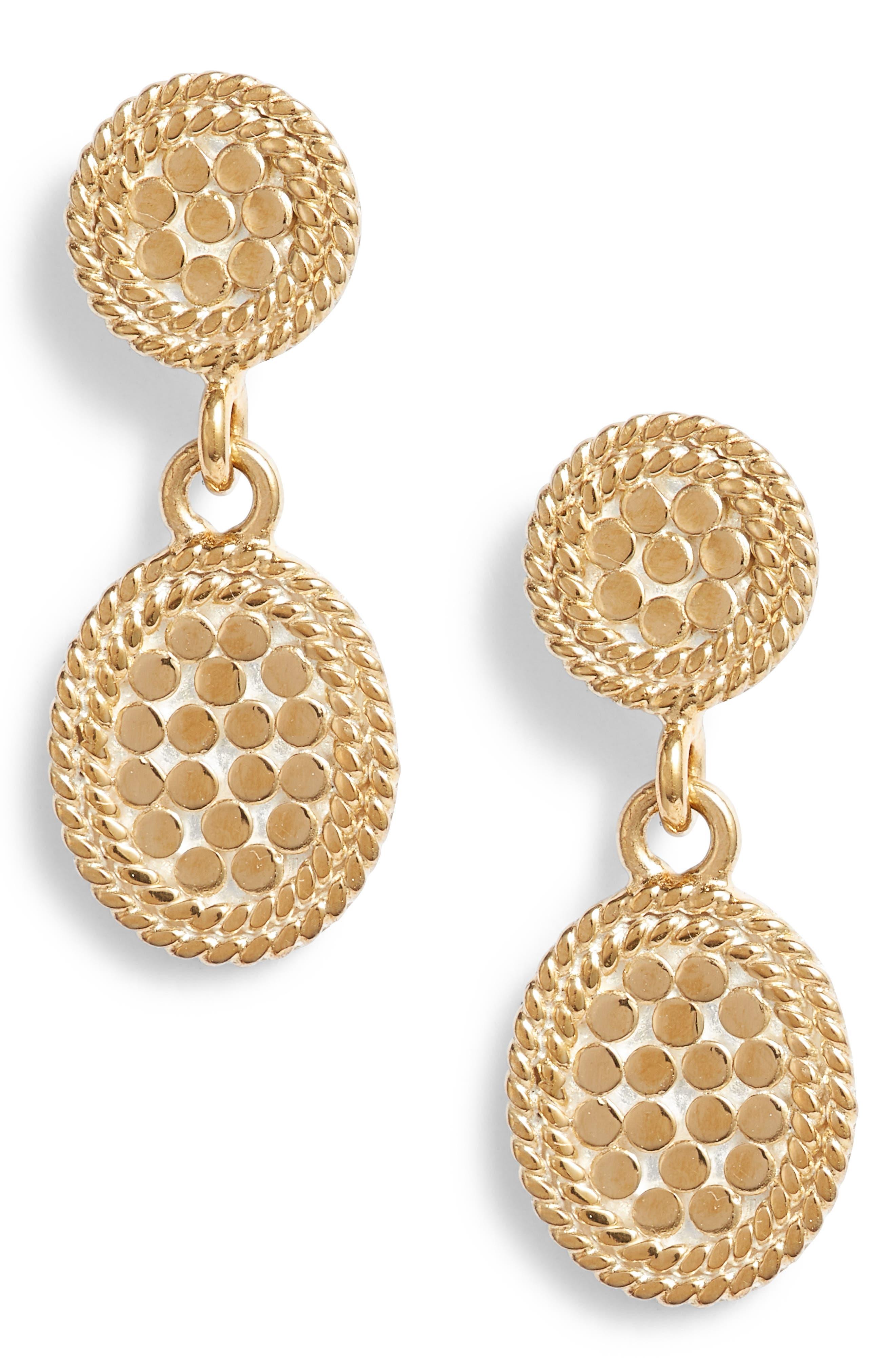 Gold Double Drop Oval Stud Earrings,                             Main thumbnail 1, color,                             710