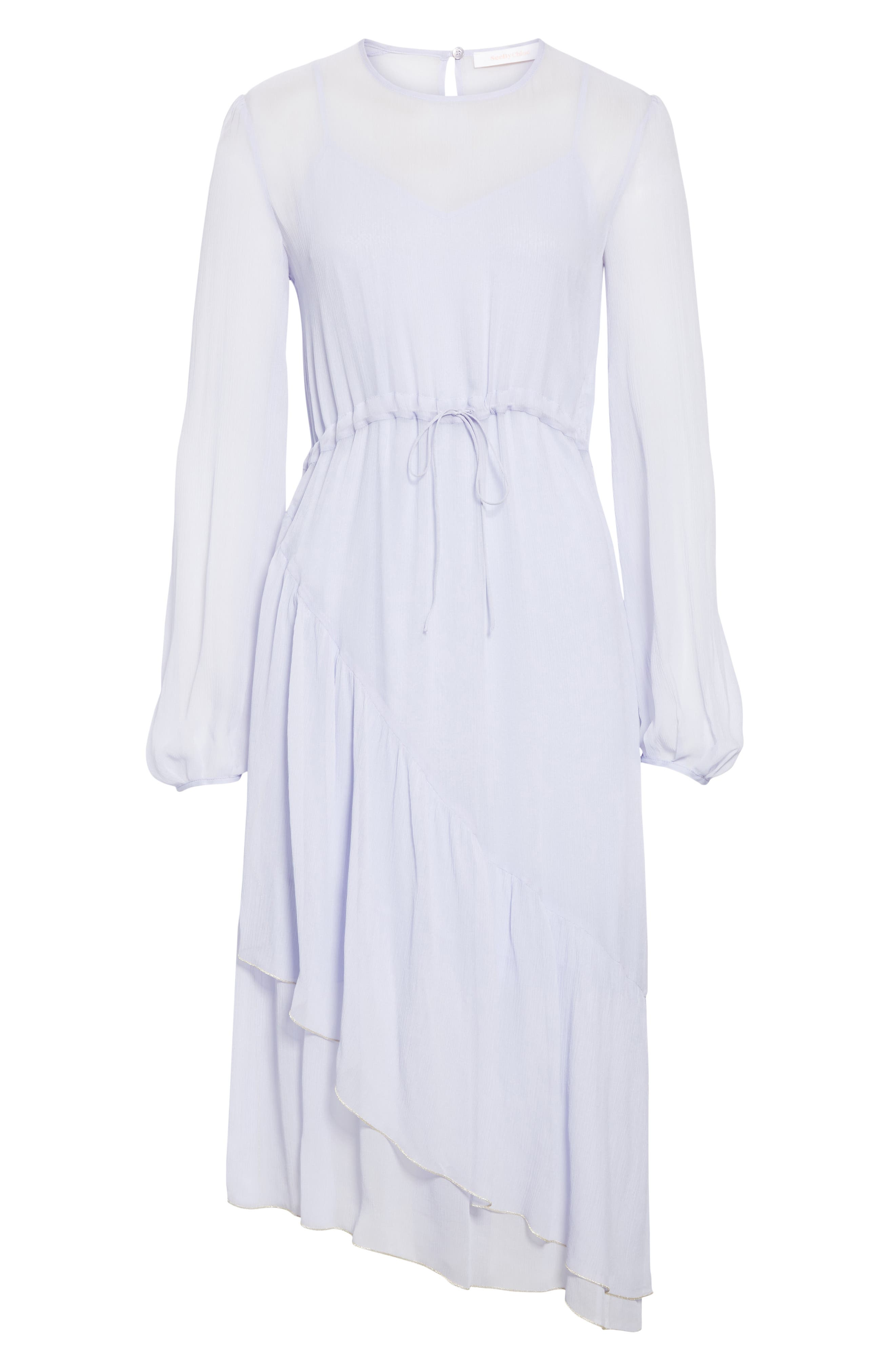 Asymmetrical Silk Midi Dress,                             Alternate thumbnail 7, color,                             SOFTY LILAC
