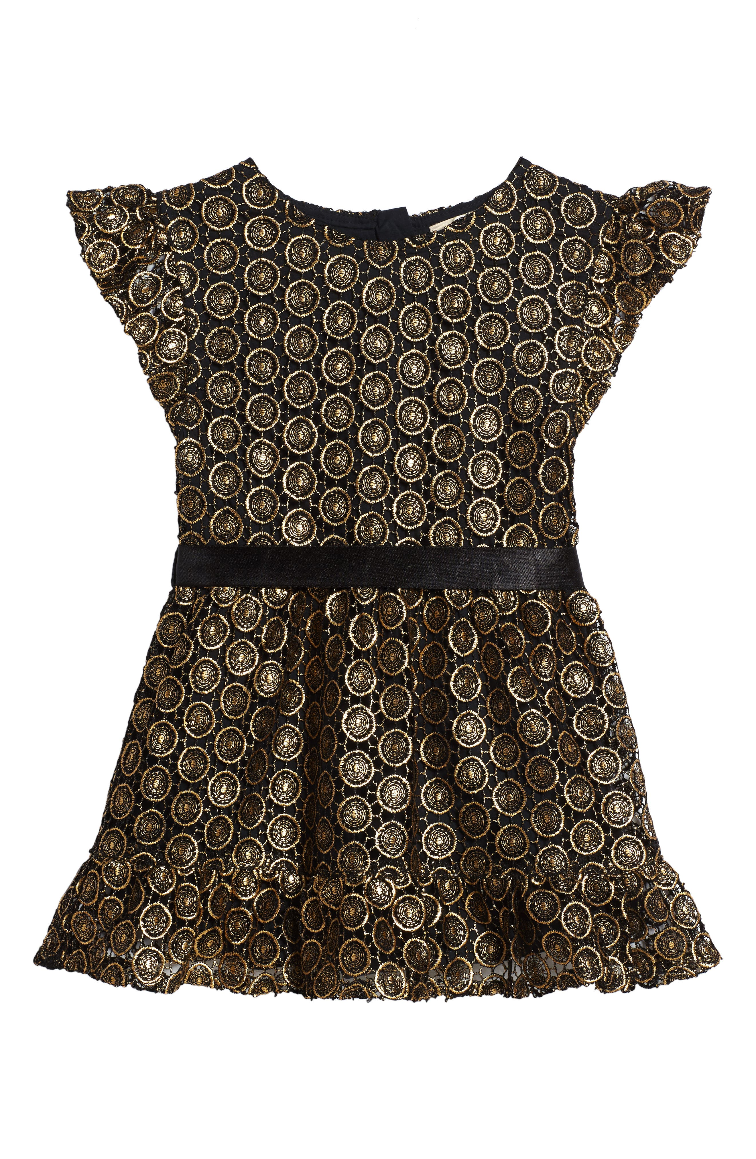 Metallic Lace Dress,                             Main thumbnail 1, color,                             010