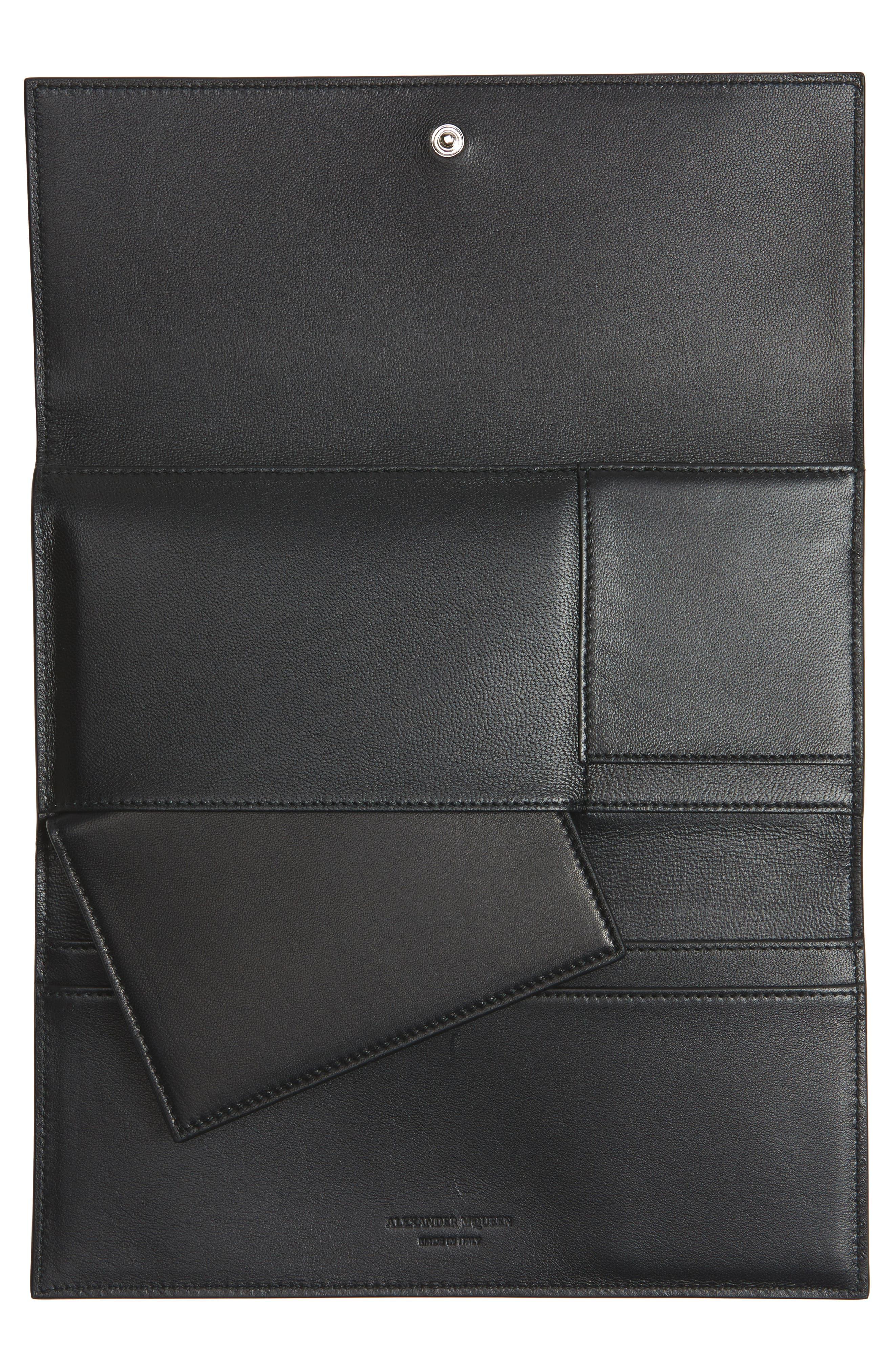 Studded Leather Travel Wallet,                             Alternate thumbnail 4, color,                             BLACK