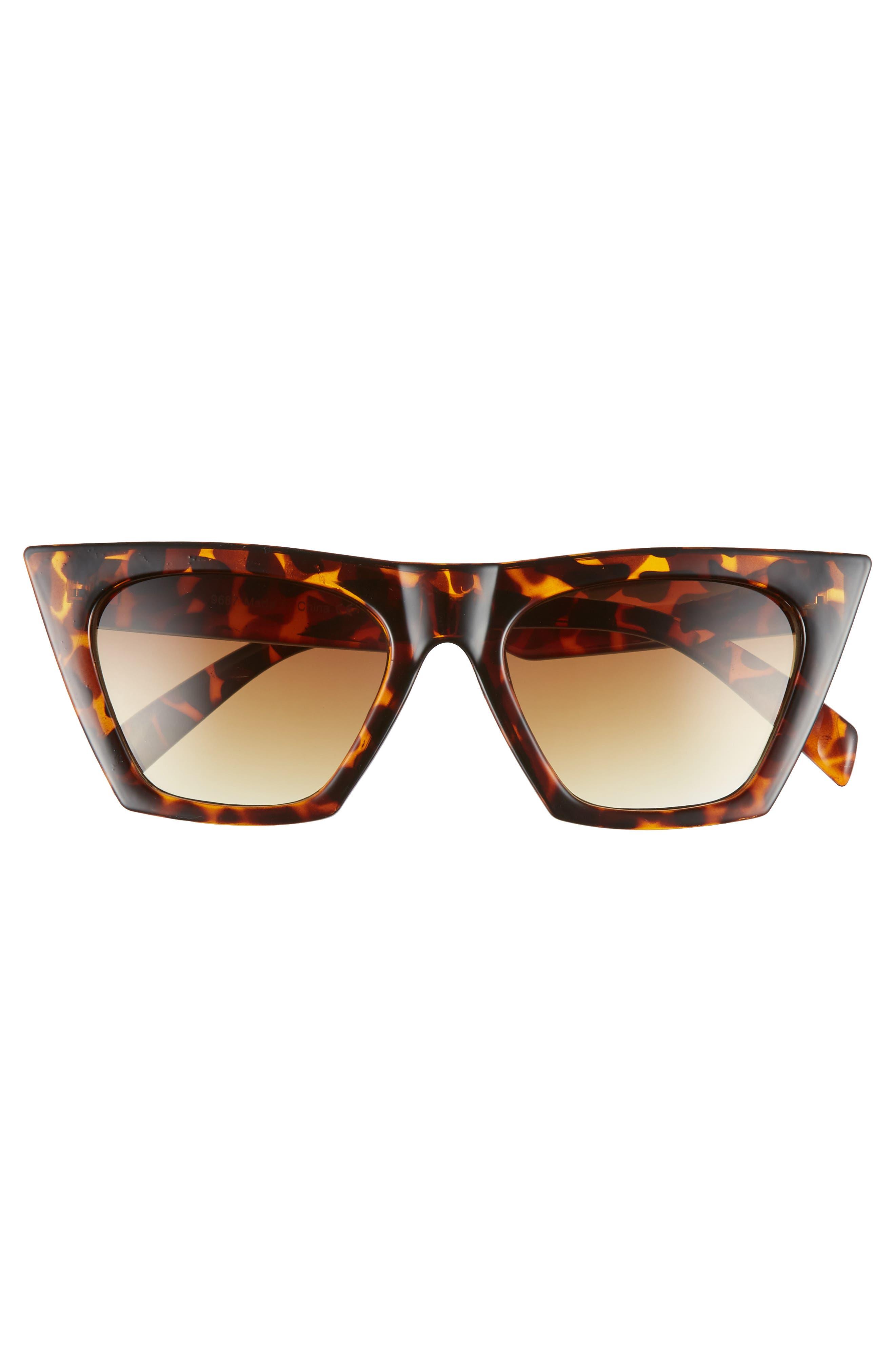 50mm Cat Eye Sunglasses,                             Alternate thumbnail 3, color,                             BROWN MULTI