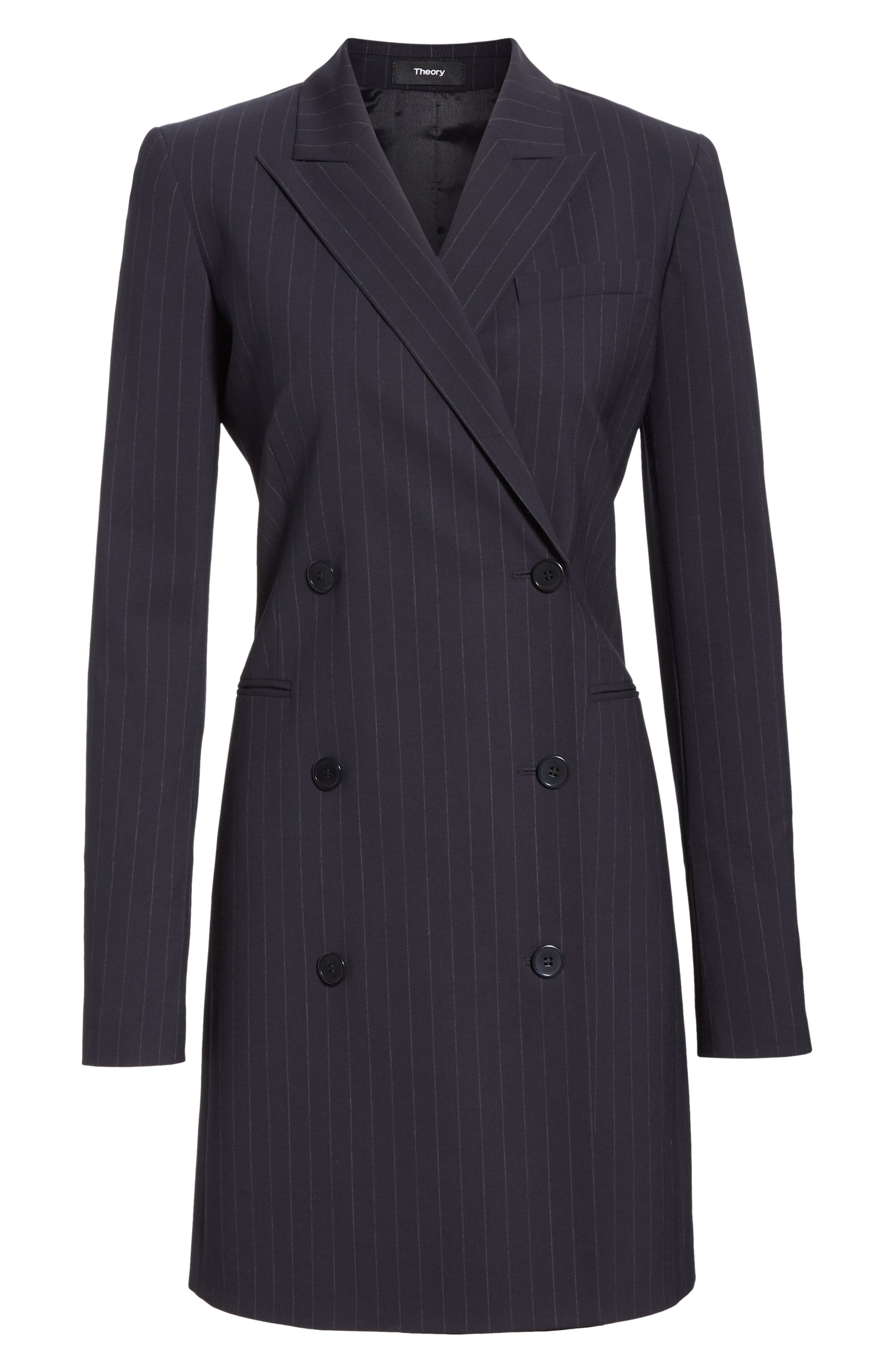 Pinstripe Blazer Dress,                             Alternate thumbnail 6, color,                             DEEP NAVY/ GREY