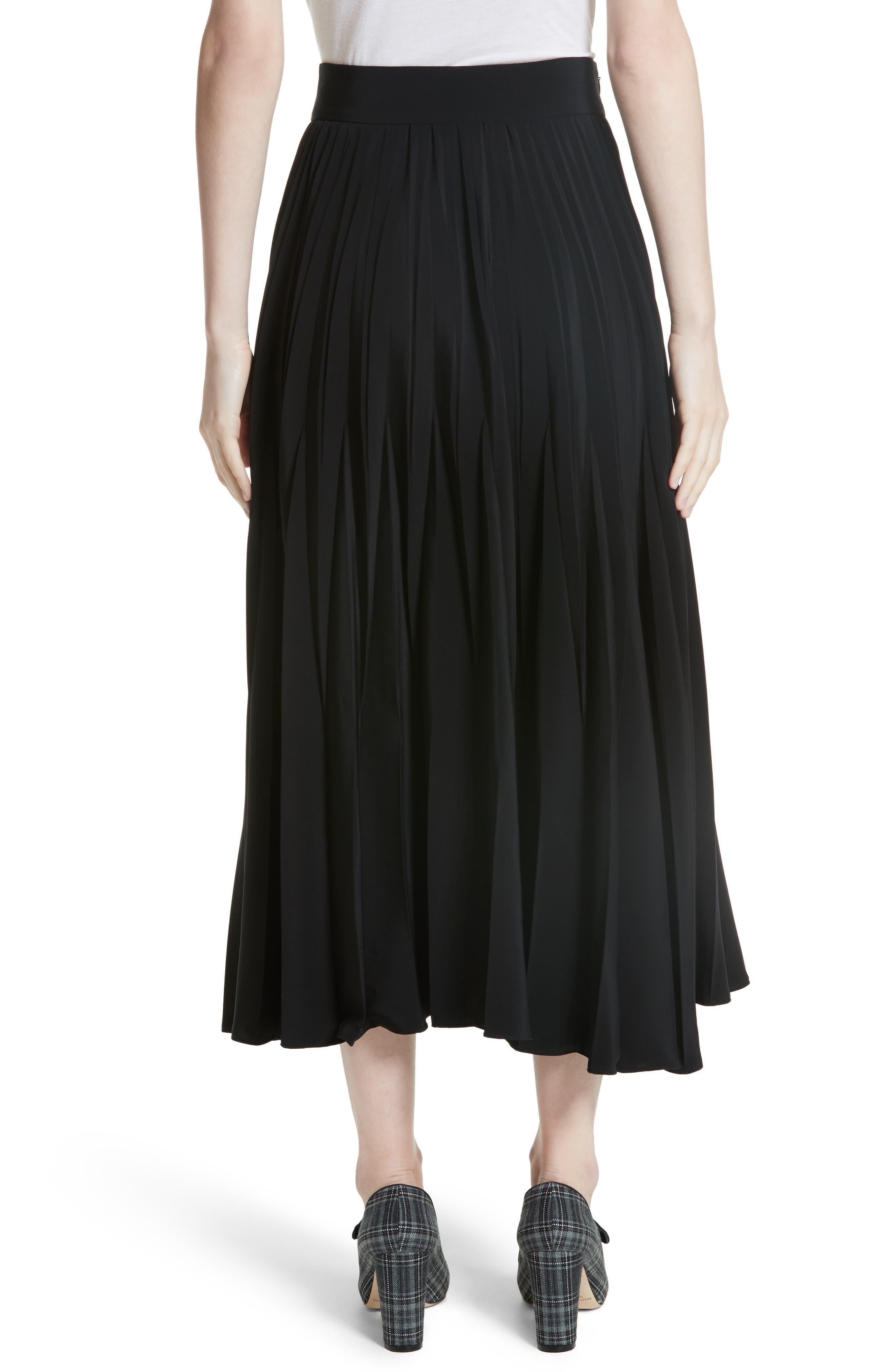 Pleated Stretch Crepe Midi Skirt,                             Alternate thumbnail 2, color,                             001