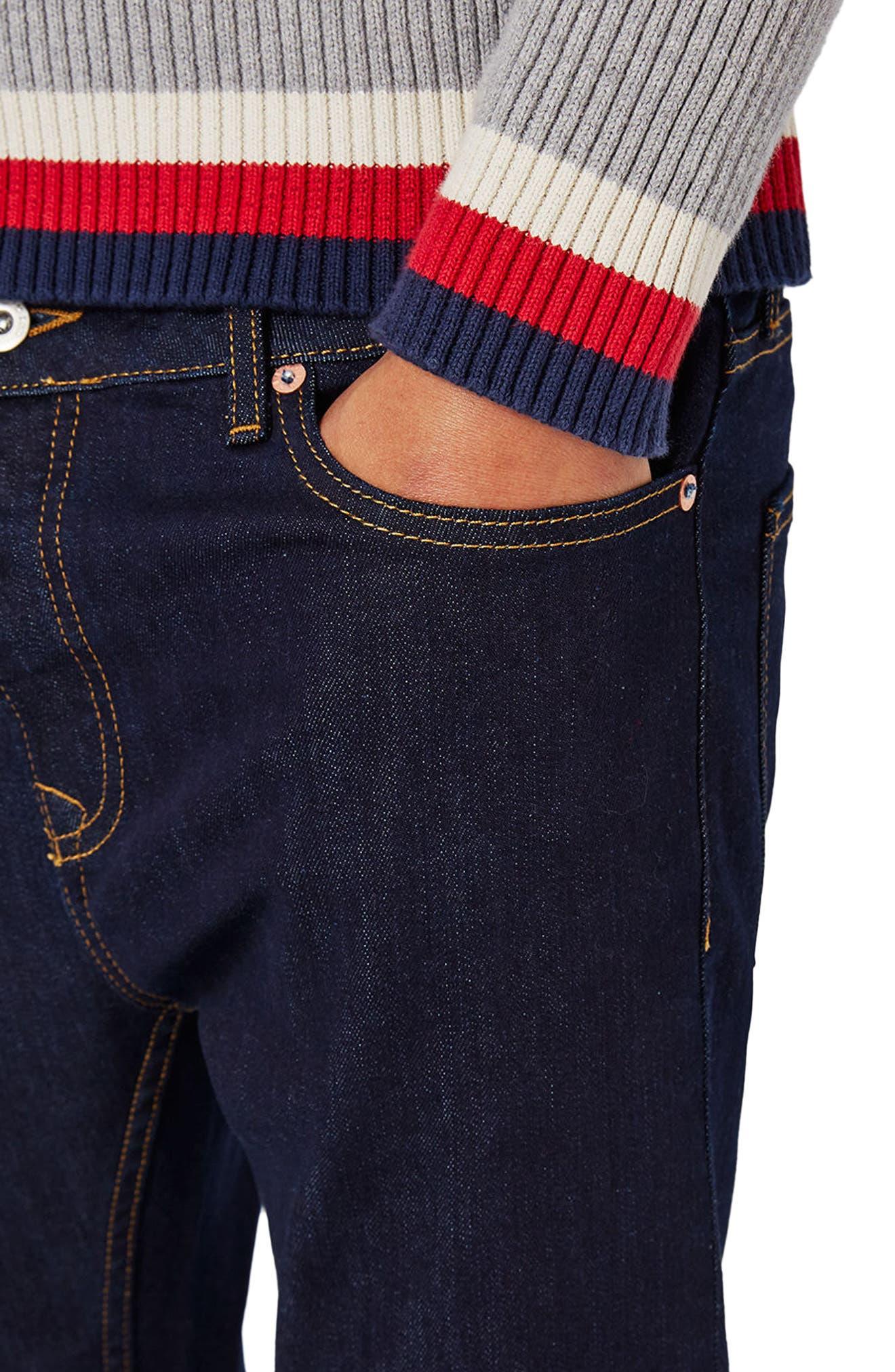 Stretch Skinny Fit Raw Denim Jeans,                             Alternate thumbnail 3, color,                             BLUE