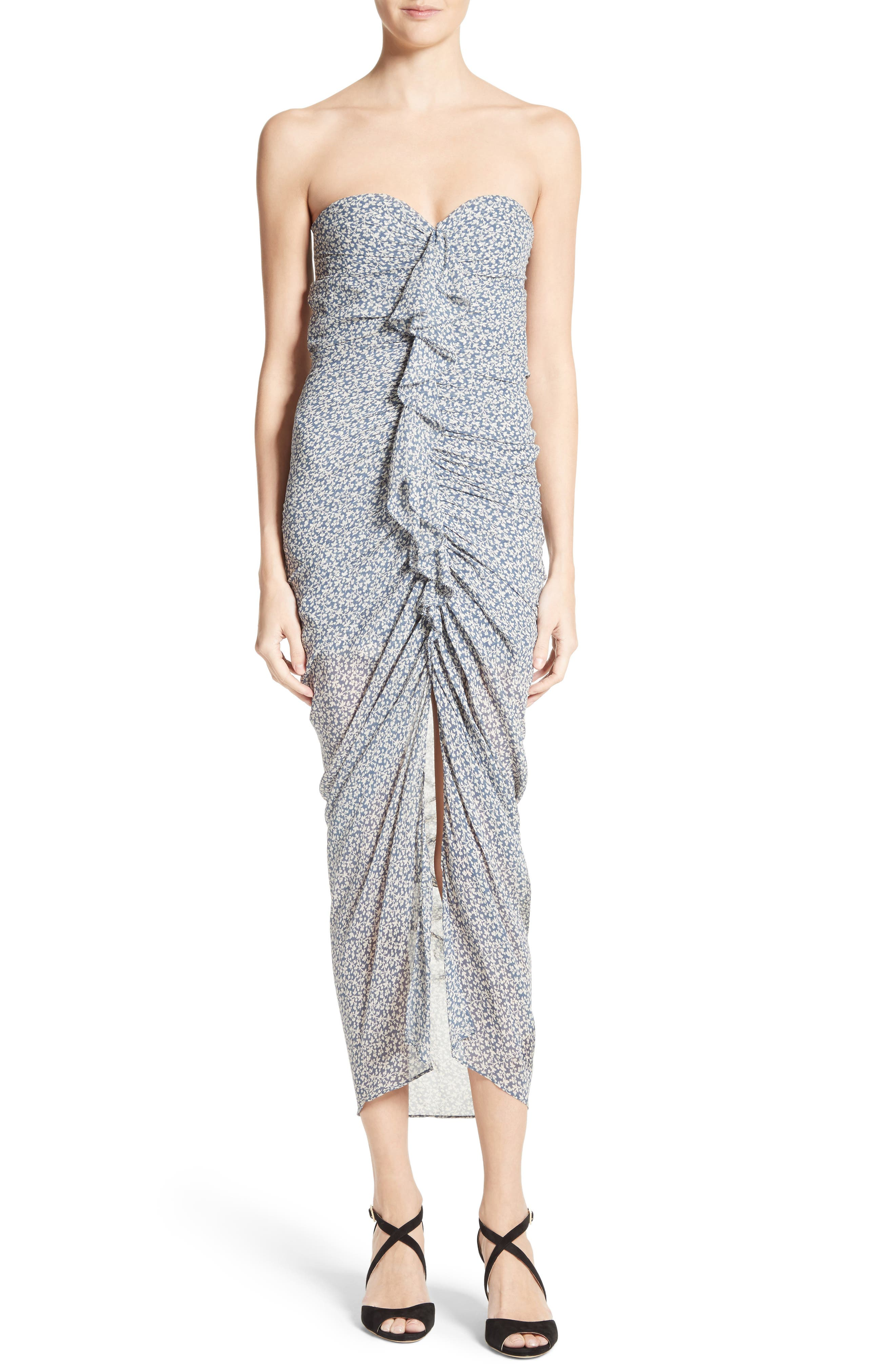 Wallflower Print Silk Strapless Dress,                         Main,                         color, 902