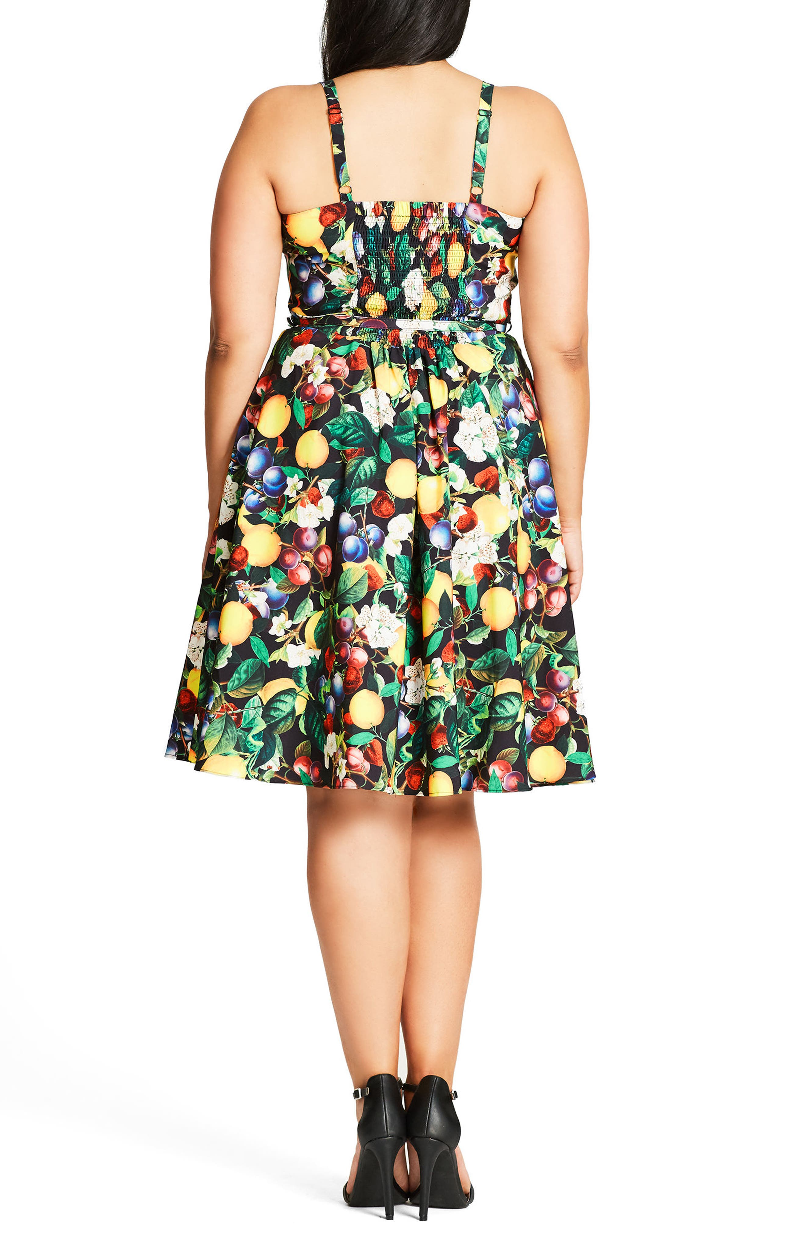 Fruit Salad Fit & Flare Sundress,                             Alternate thumbnail 2, color,                             001