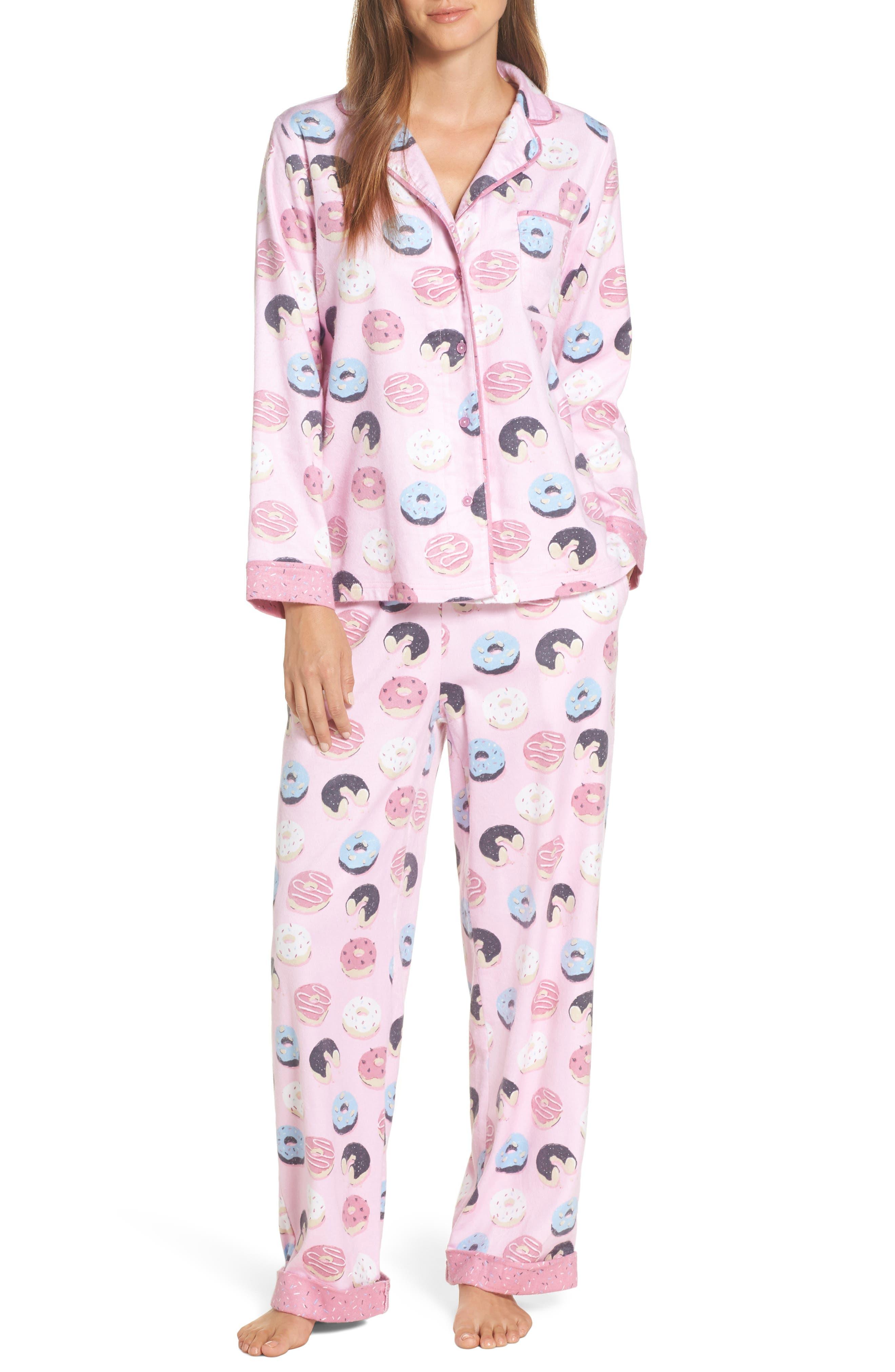 Munki Munki Flannel Pajamas, Pink
