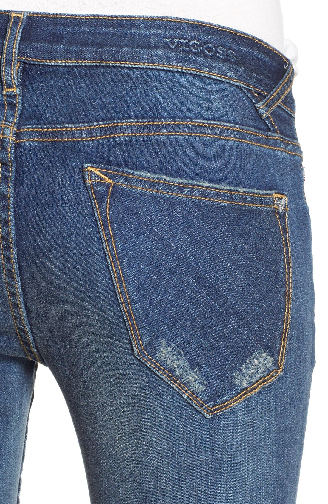 'Thompson' Distressed Skinny Jeans,                             Alternate thumbnail 2, color,