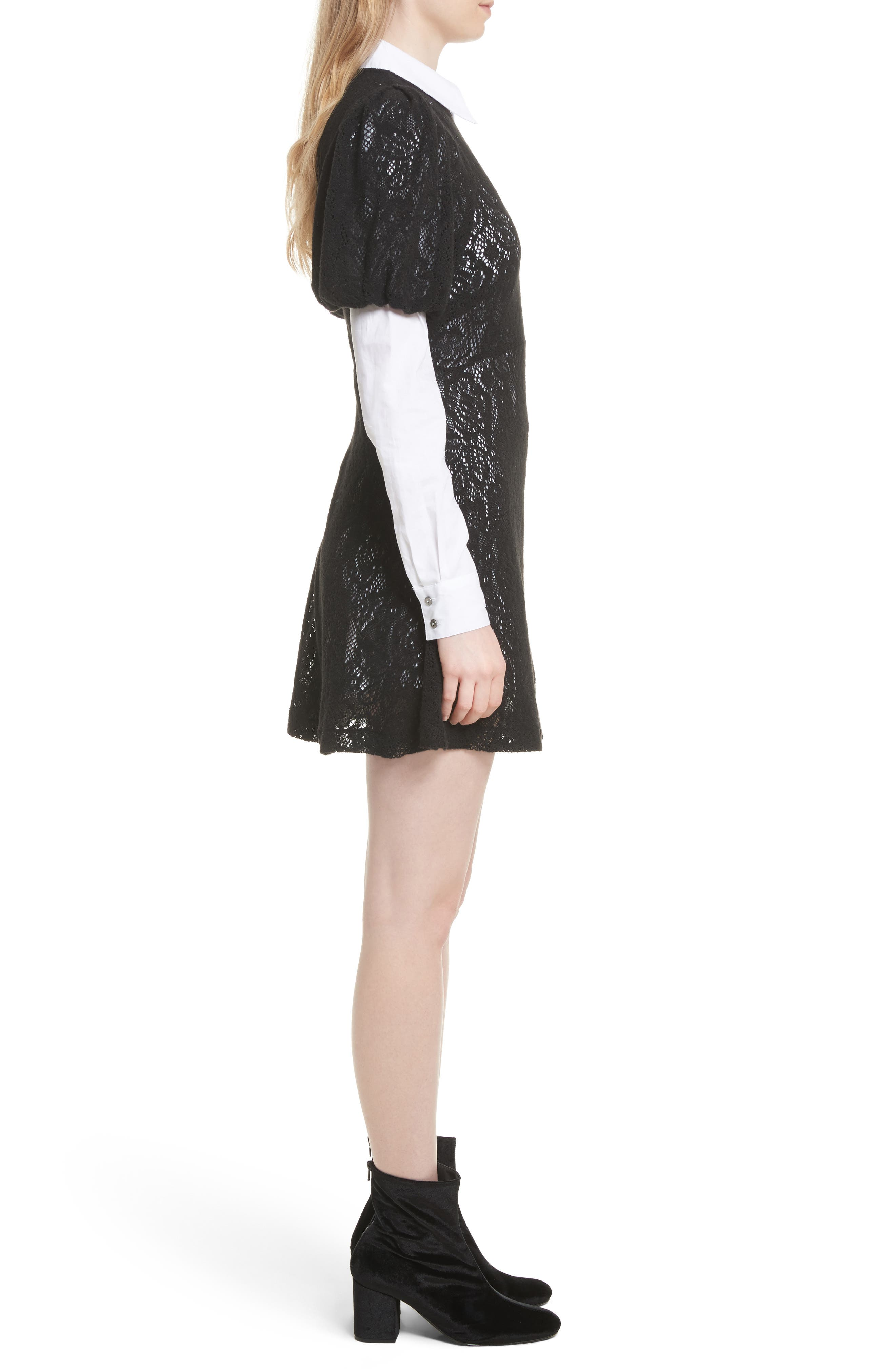 Pretty Princess Dress Shirtdress with Lace Overlay,                             Alternate thumbnail 3, color,                             019