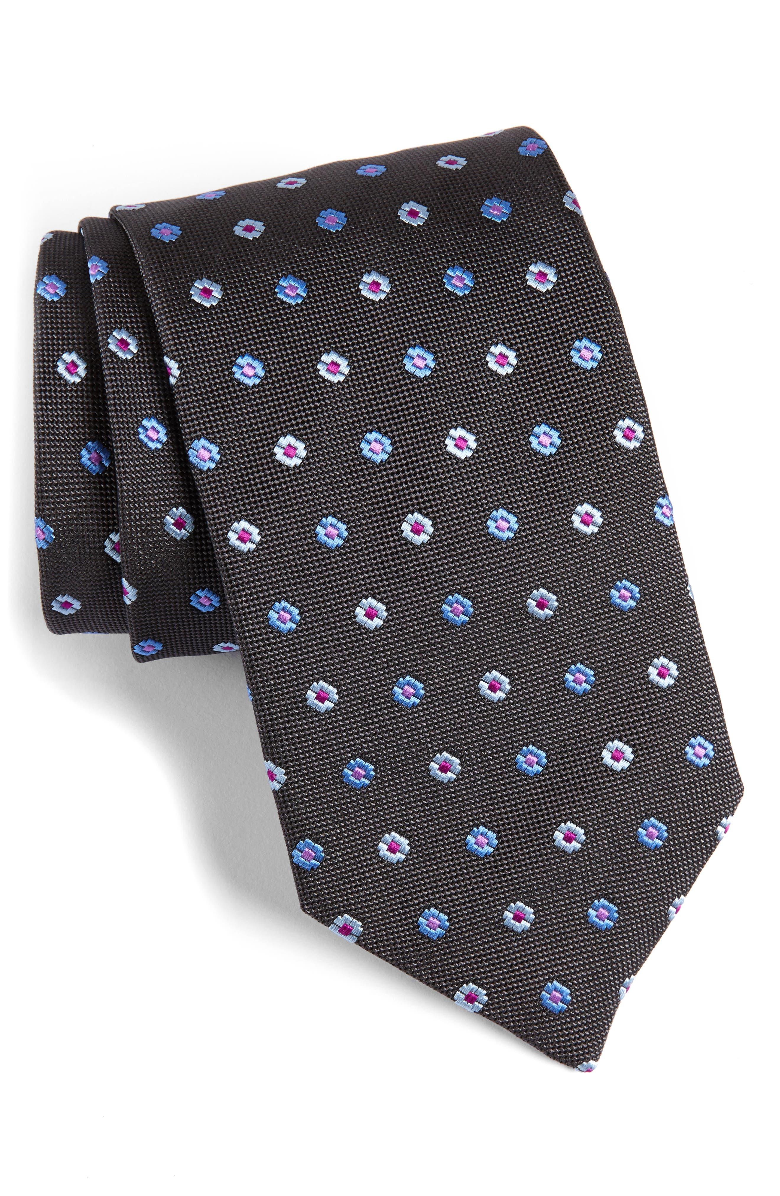 Neat Floral Medallion Silk Tie,                         Main,                         color, 020