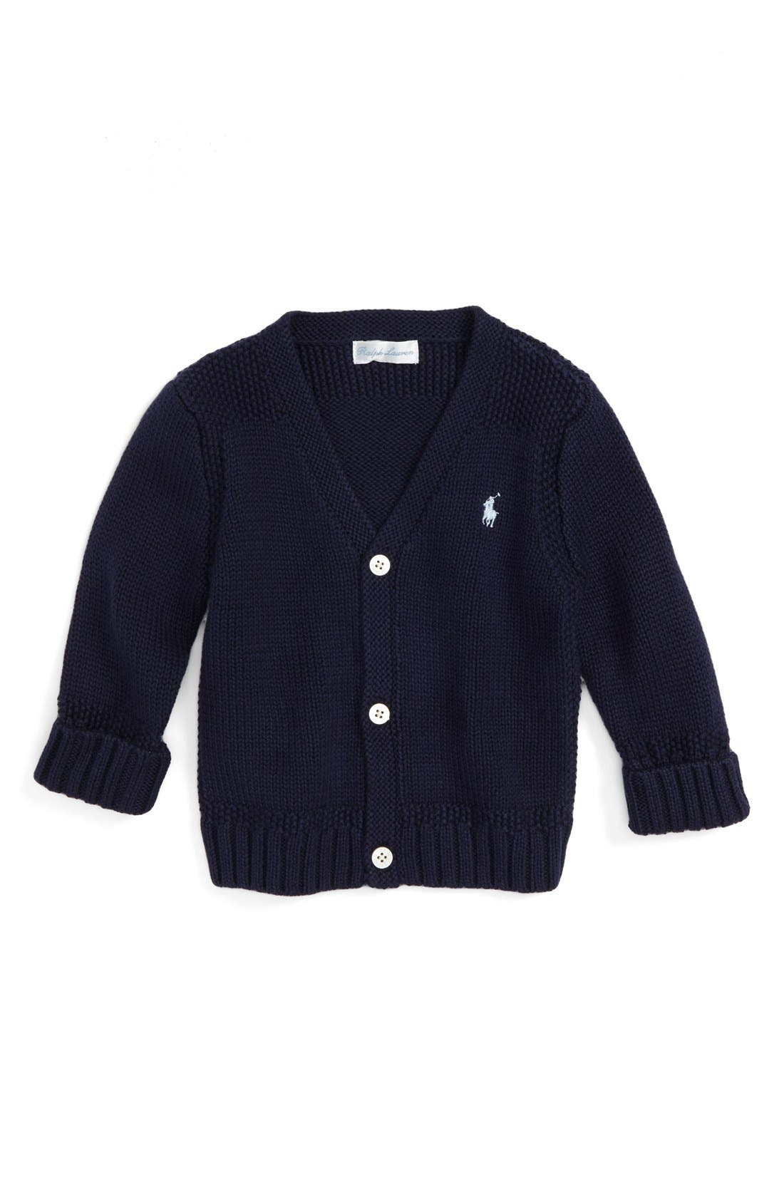 V-Neck Cardigan,                         Main,                         color, NAVY