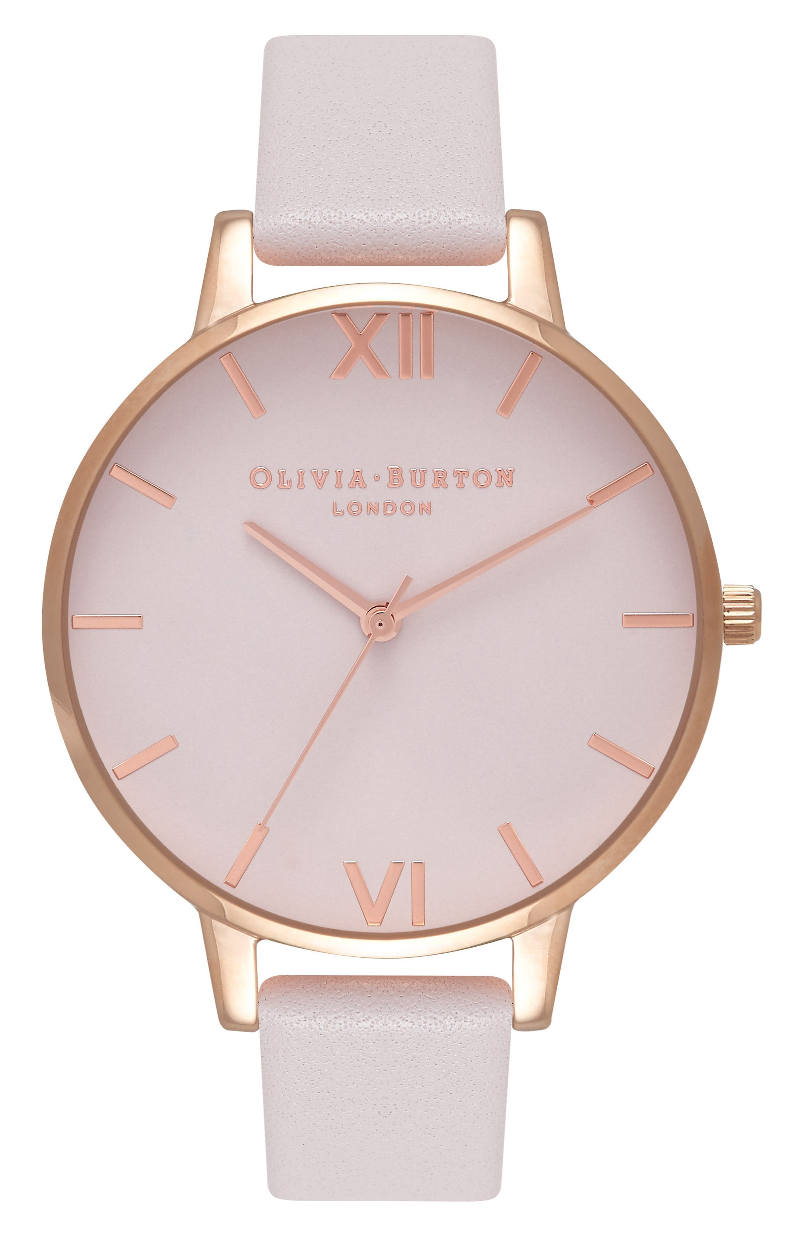 Case Cuff Leather Strap Watch, 38mm,                             Alternate thumbnail 8, color,                             BLUSH/ WHITE/ ROSE GOLD