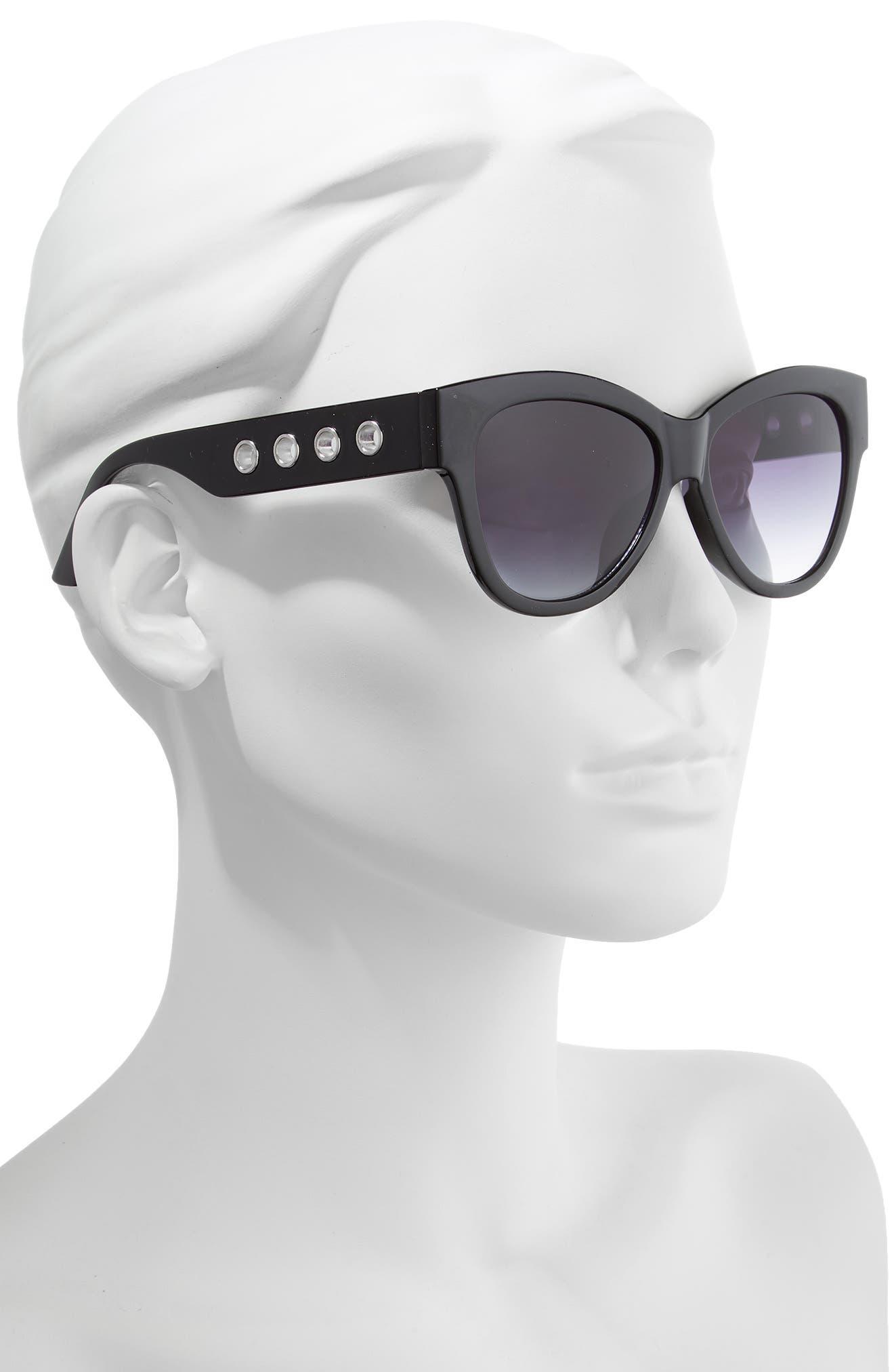 61mm Grommet Detail Square Sunglasses,                             Alternate thumbnail 2, color,                             BLACK/ SILVER