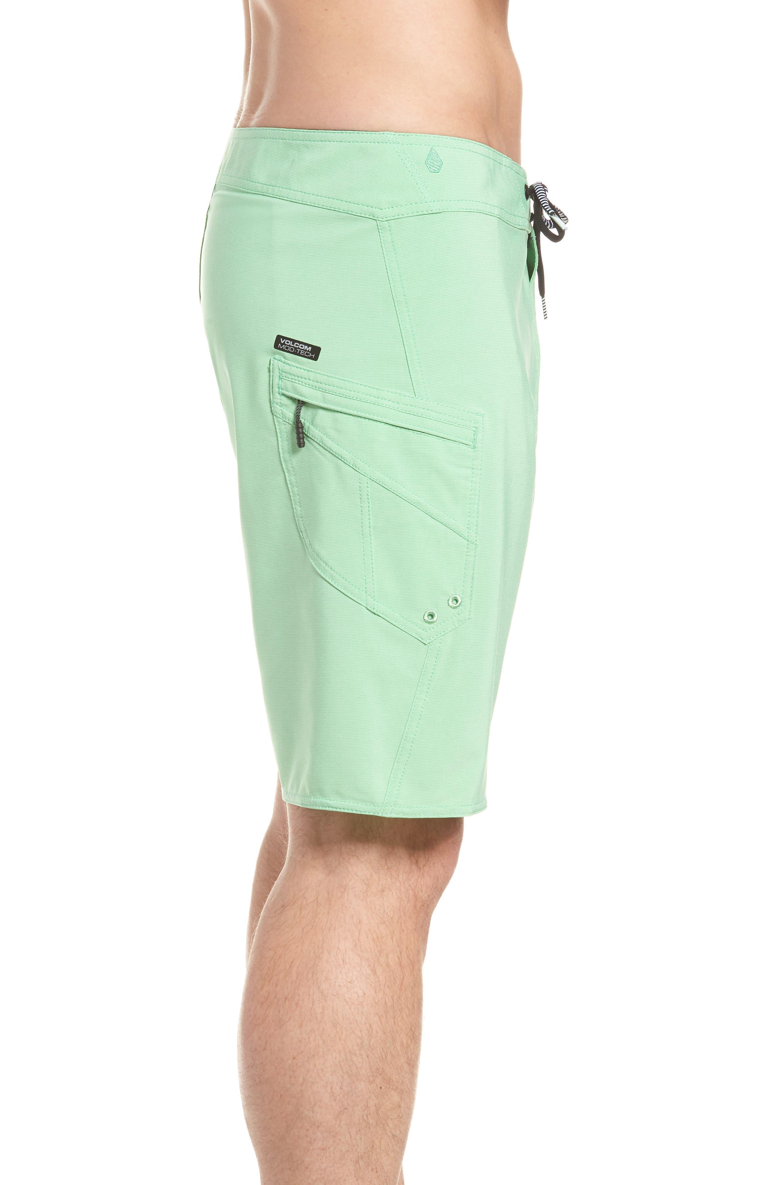 Lido Mod Board Shorts,                             Alternate thumbnail 3, color,                             POISON GREEN