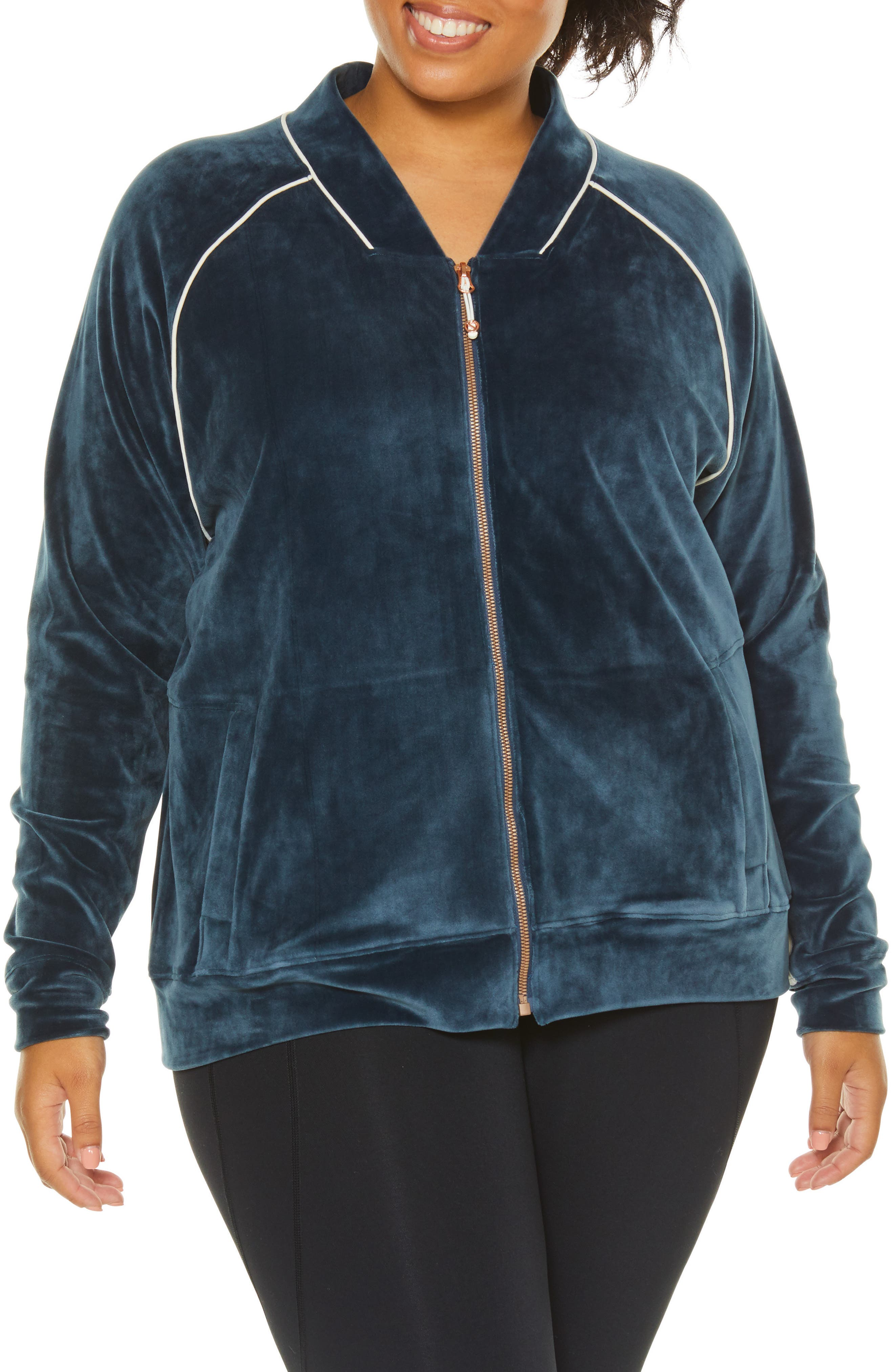 Plus Size Shape Activewear Techno Velour Track Jacket, Blue