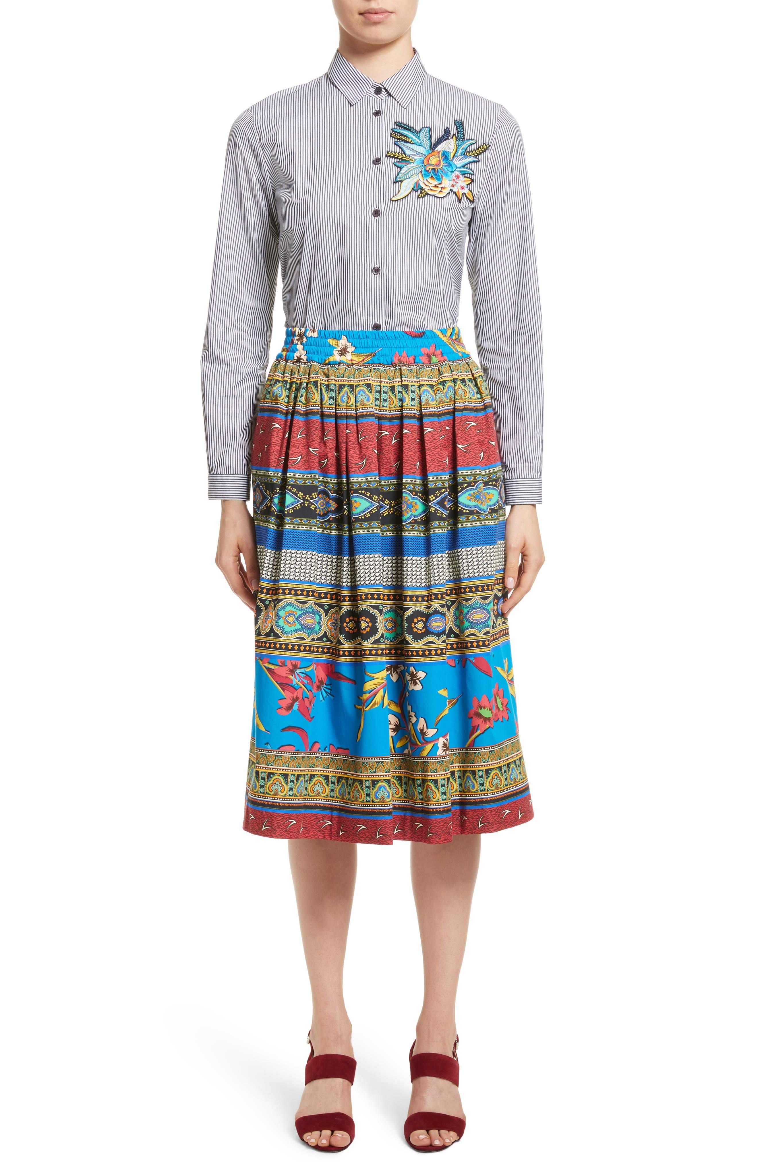 Floral Geo Print Cotton Skirt,                             Alternate thumbnail 7, color,                             410