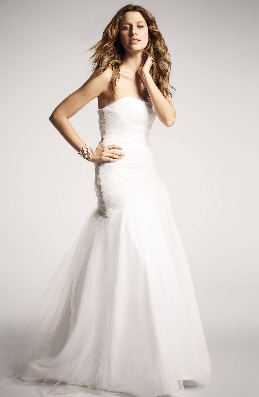 Draped Tulle Gown,                             Alternate thumbnail 5, color,                             100