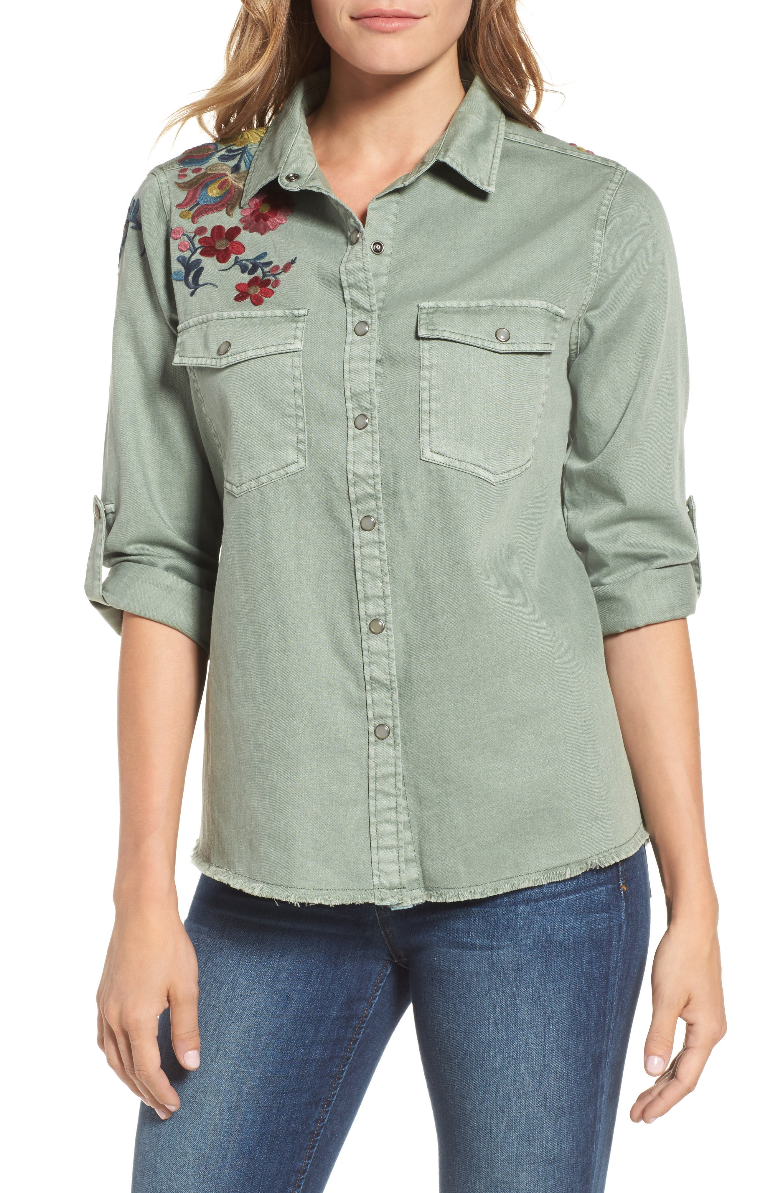 Roll Sleeve Embroidered Shirt,                         Main,                         color, 301